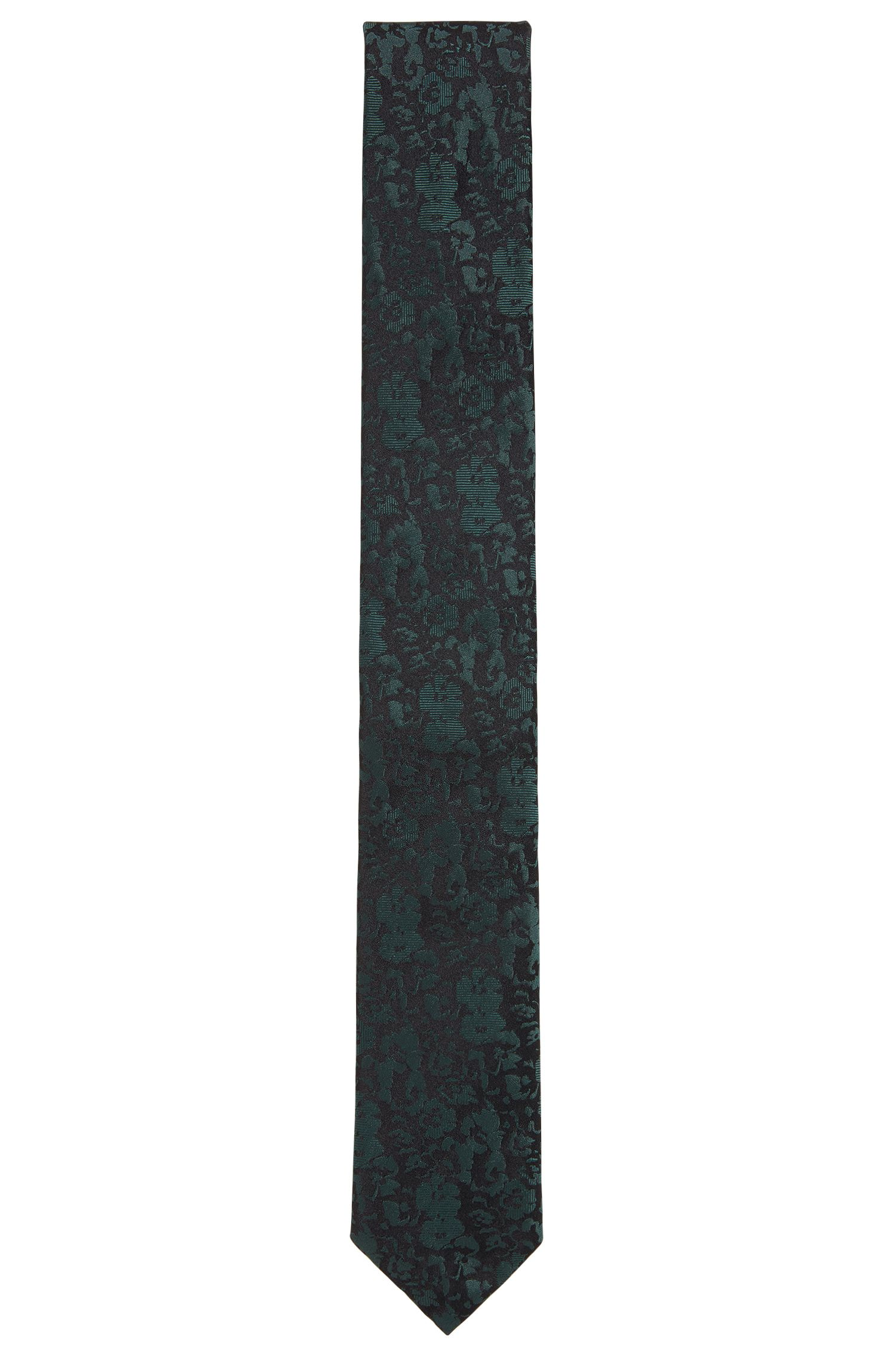 Silk jacquard tie with tonal floral effect