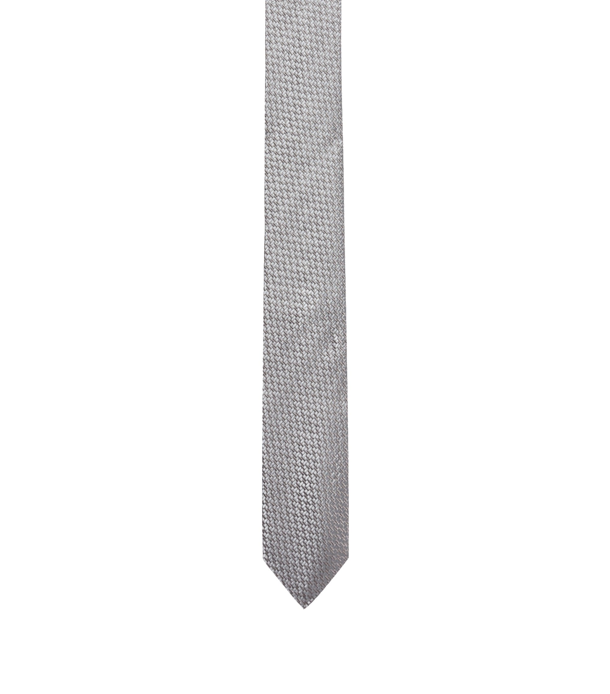 Silk tie with modern woven structure, Grey