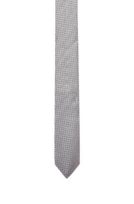 Krawatte aus Seide mit moderner Webstruktur, Grau