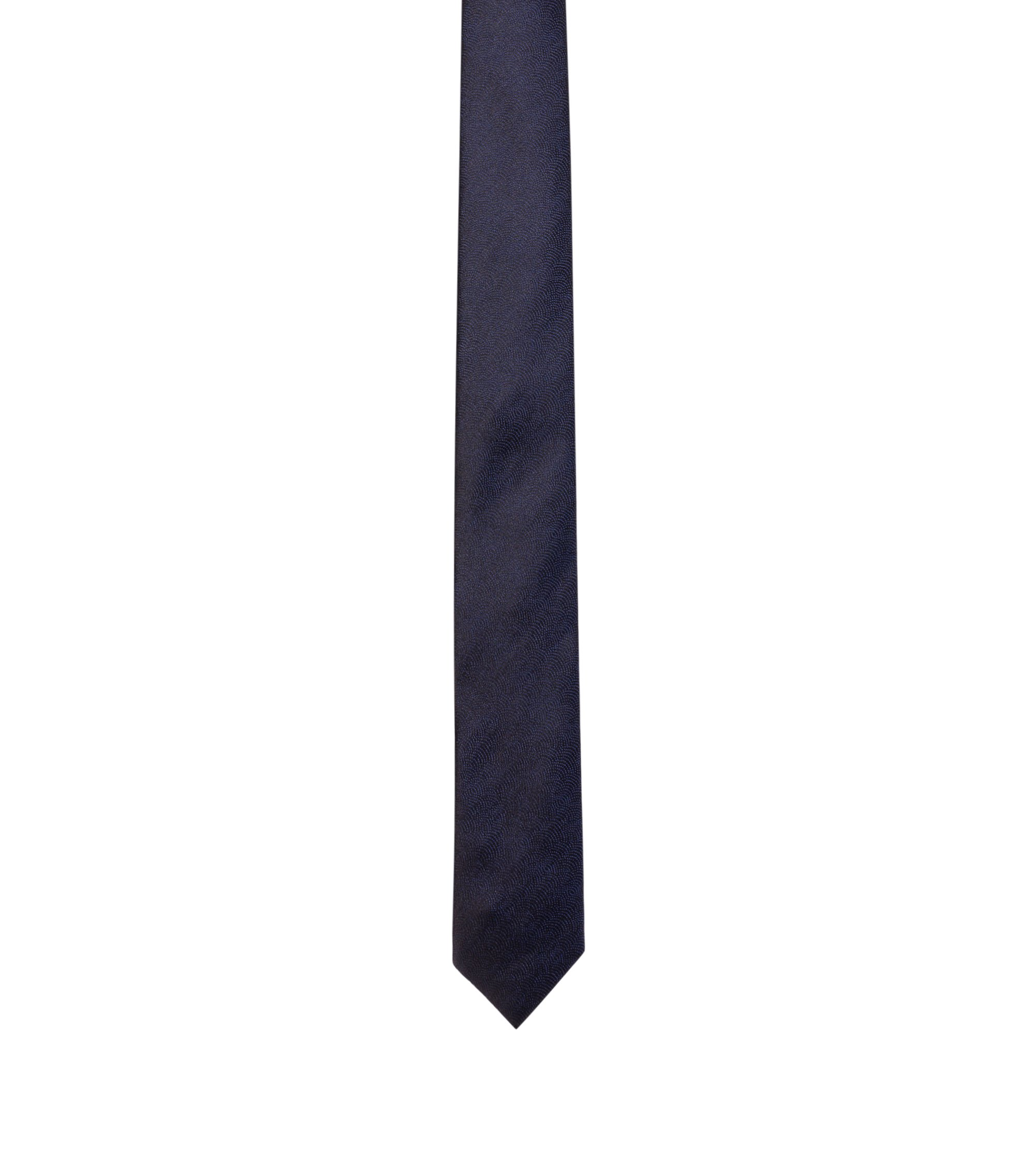 Geometric-pattern silk tie , Dark Blue