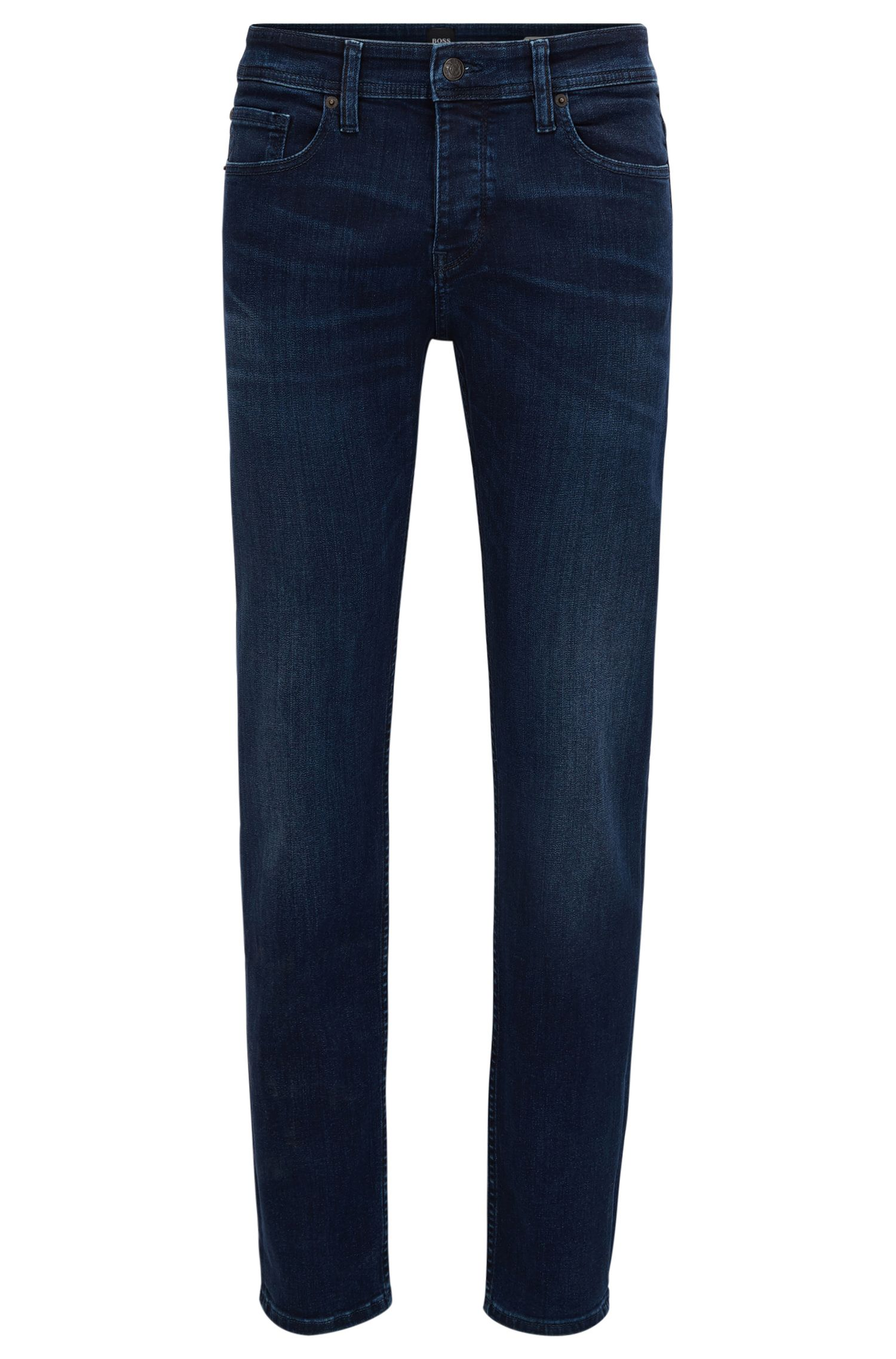 Tapered-fit jeans van super-stretchdenim in diep indigo met used-effecten