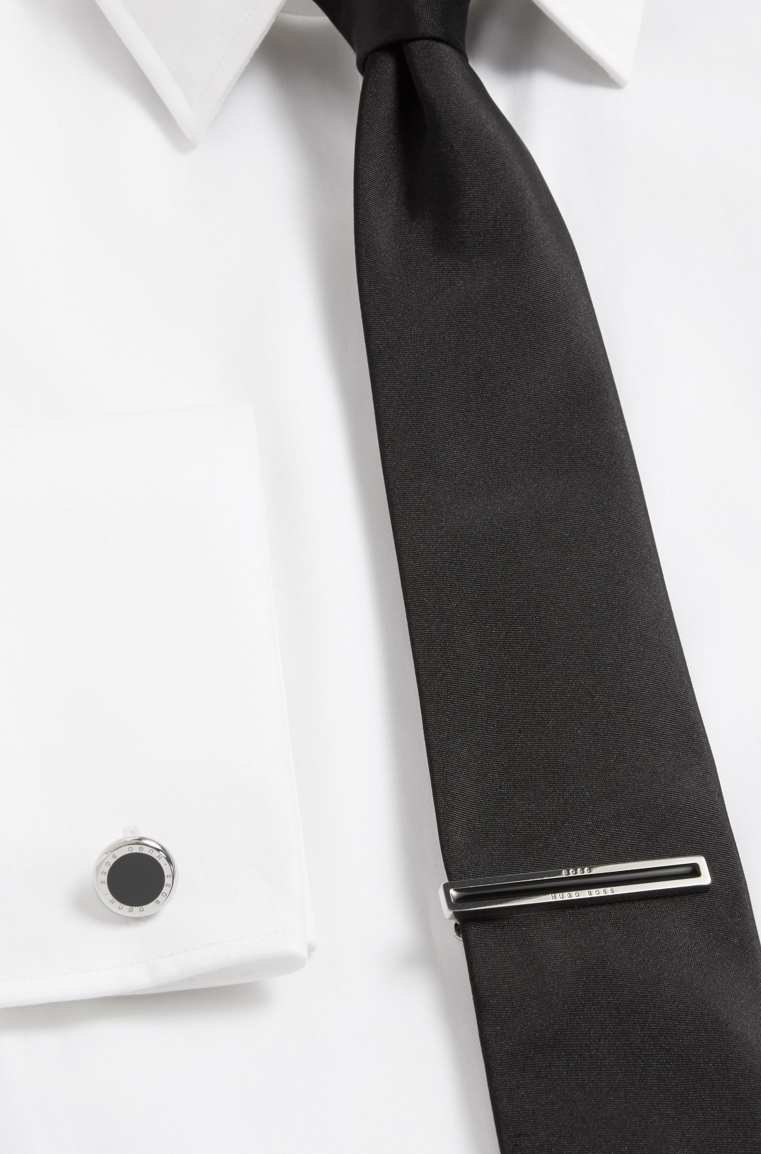 Enamel and brass tie clip and cufflinks gift set