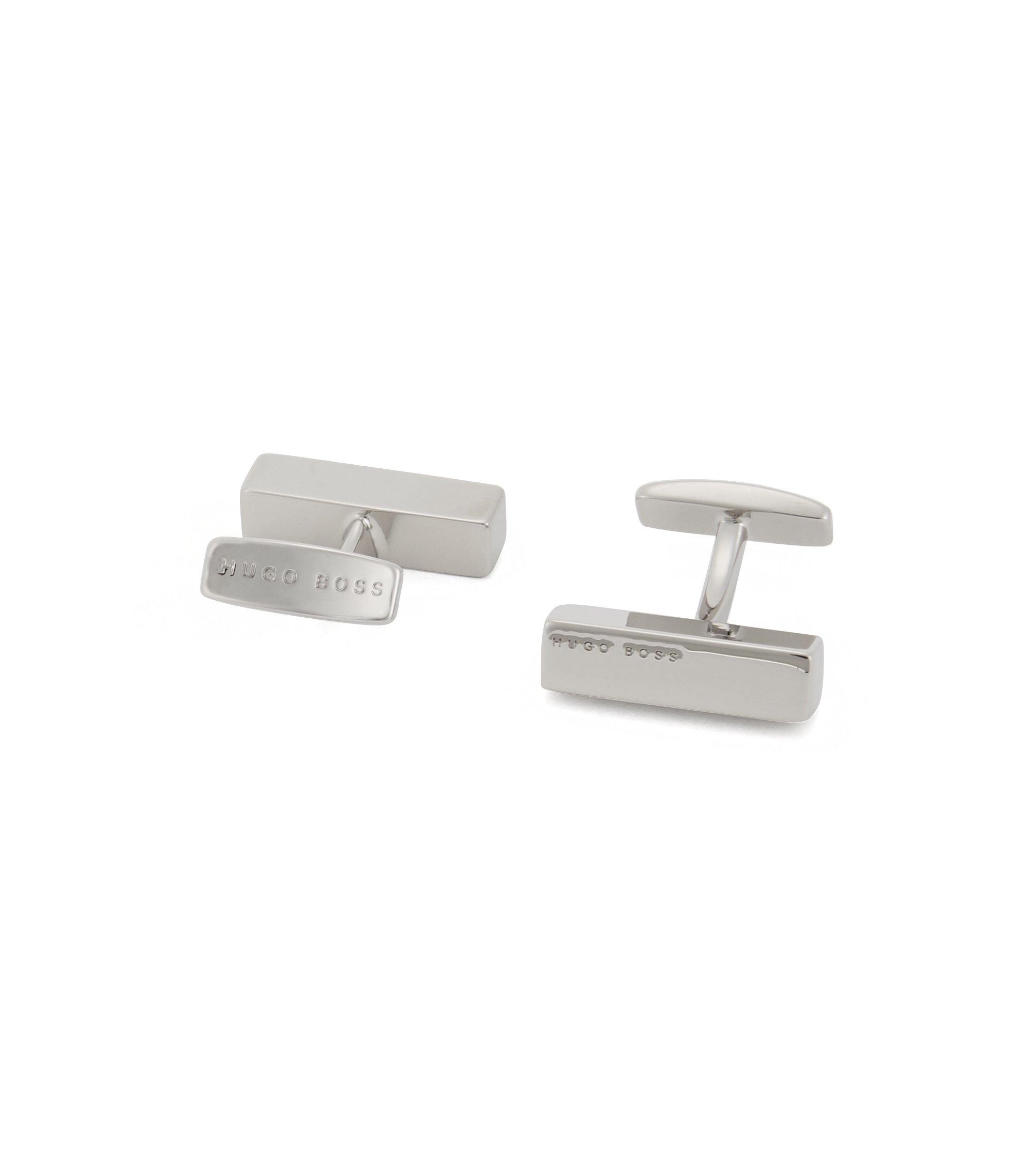 Brass tie clip and cufflinks gift set, Silver