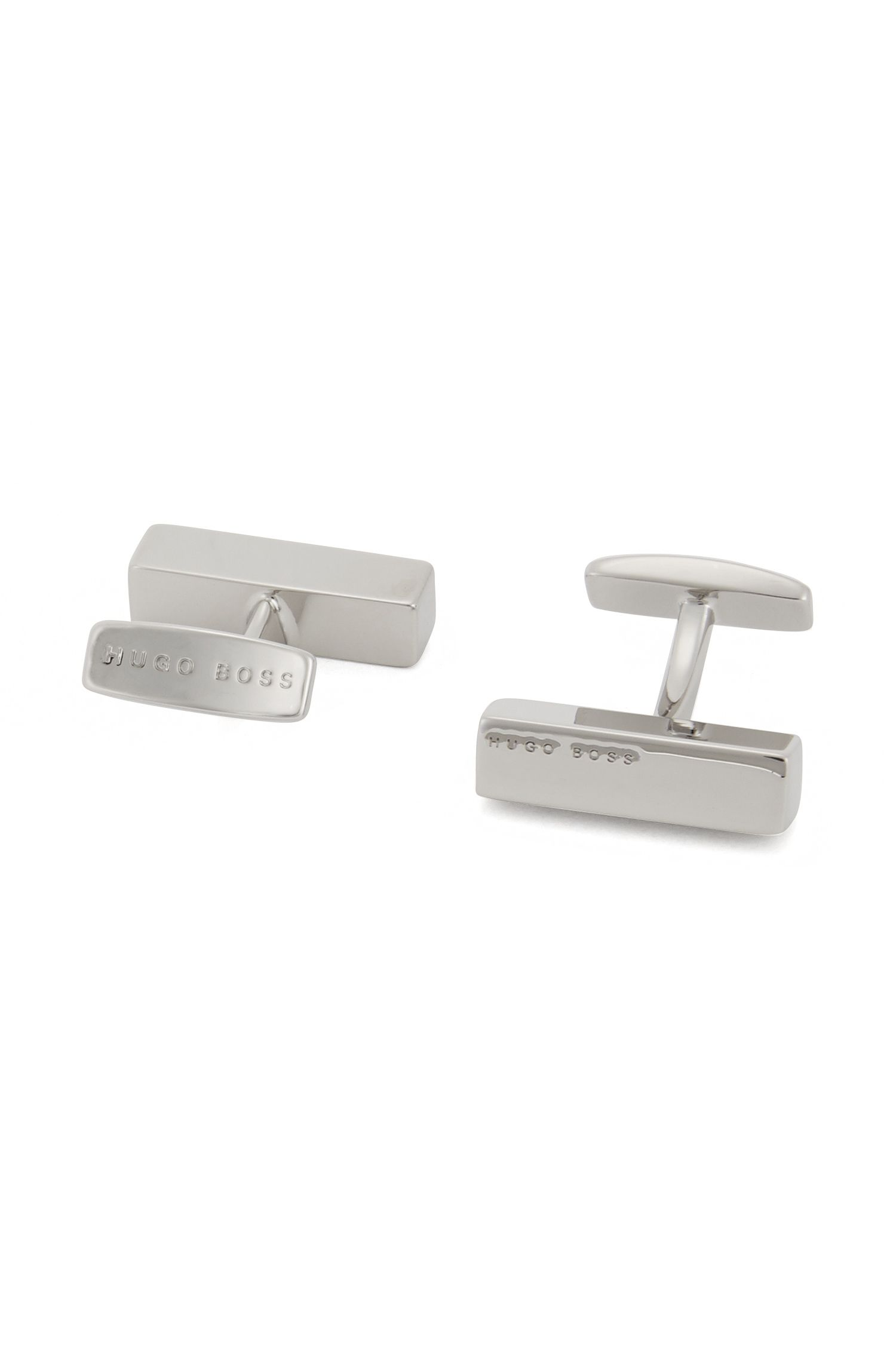 Brass tie clip and cufflinks gift set, Silver