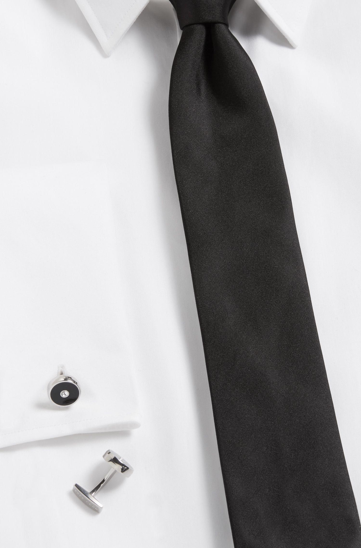 Coffret cadeau comprenant des boutons de manchette ronds et des boutons pour chemise de smoking en émail et laiton poli à la main, Noir