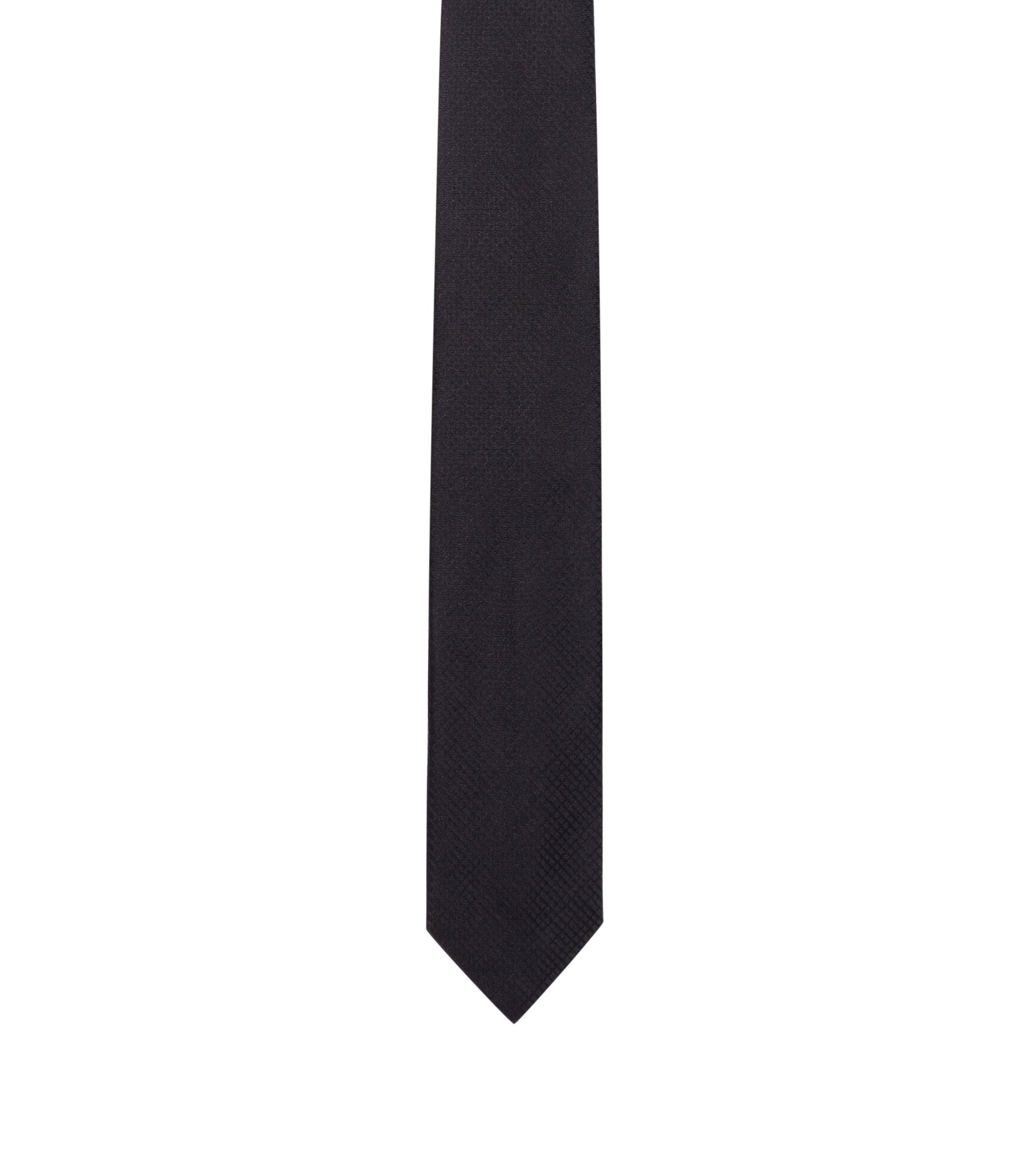 Plain check tie in silk, Black