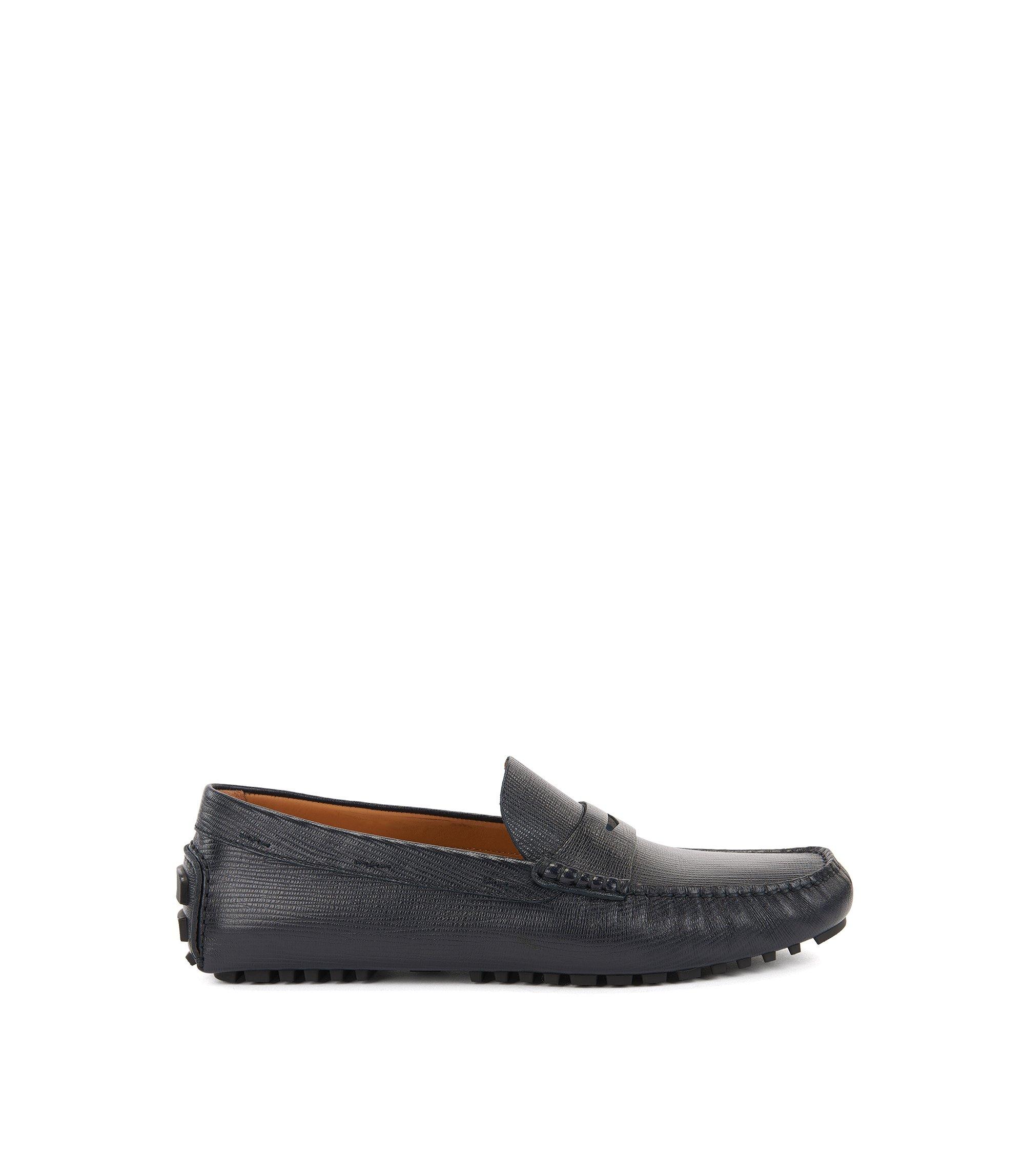 Penny moccasins in printed leather, Dark Blue