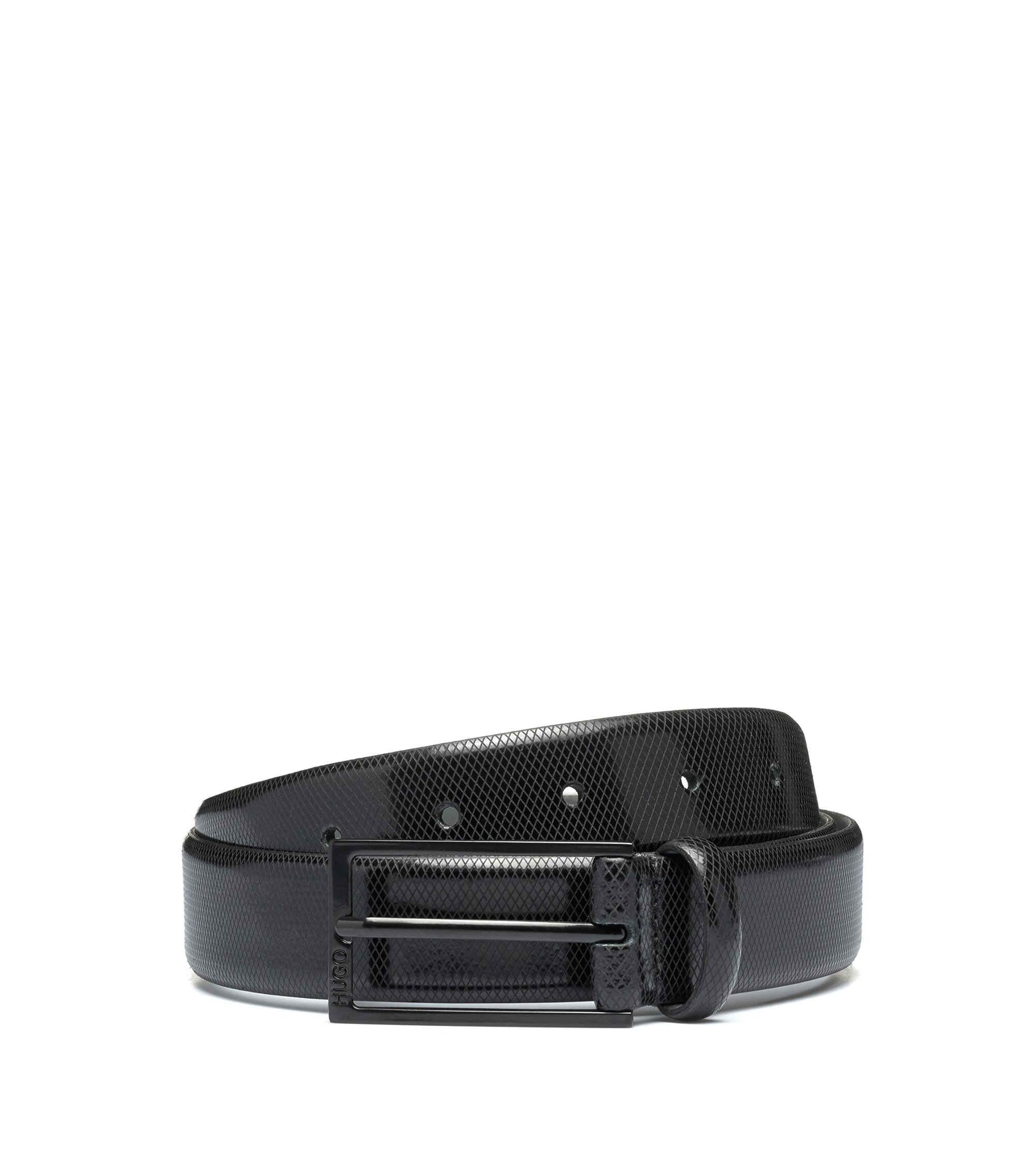 Embossed-leather belt with black varnished hardware, Black