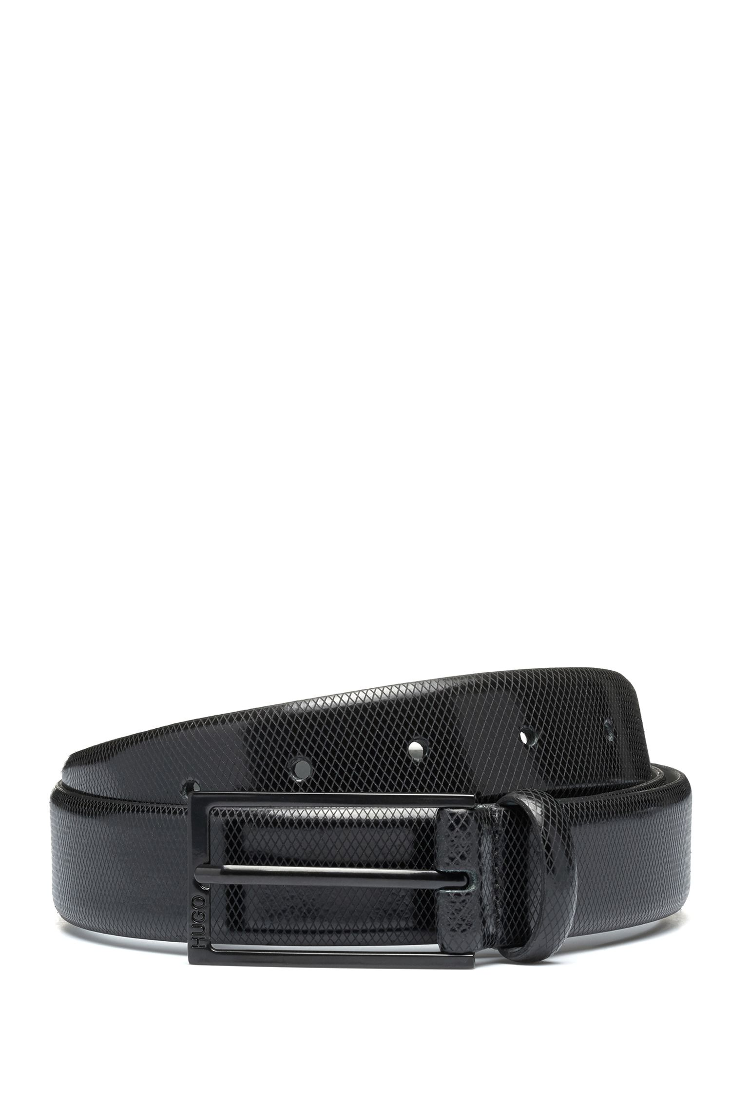 Embossed-leather belt with black varnished hardware