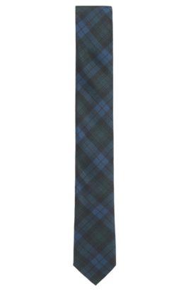 Cravate en soie à motif tartan, Bleu foncé