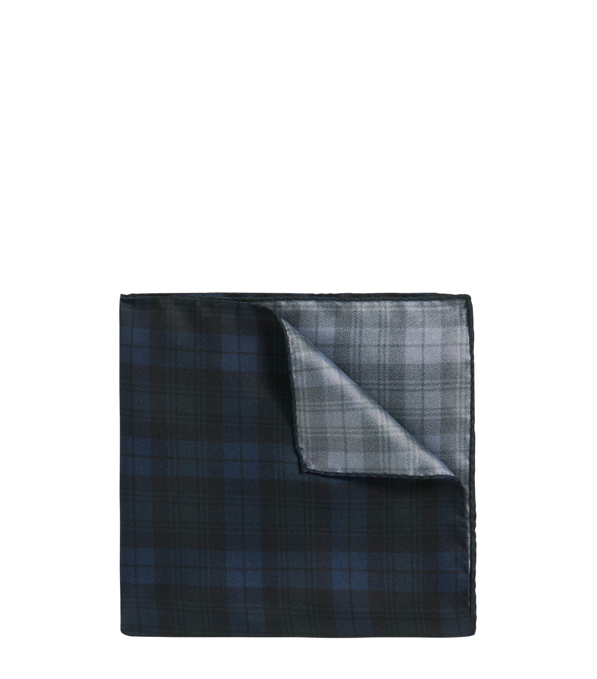 Blackwatch-check silk pocket square, Open Green