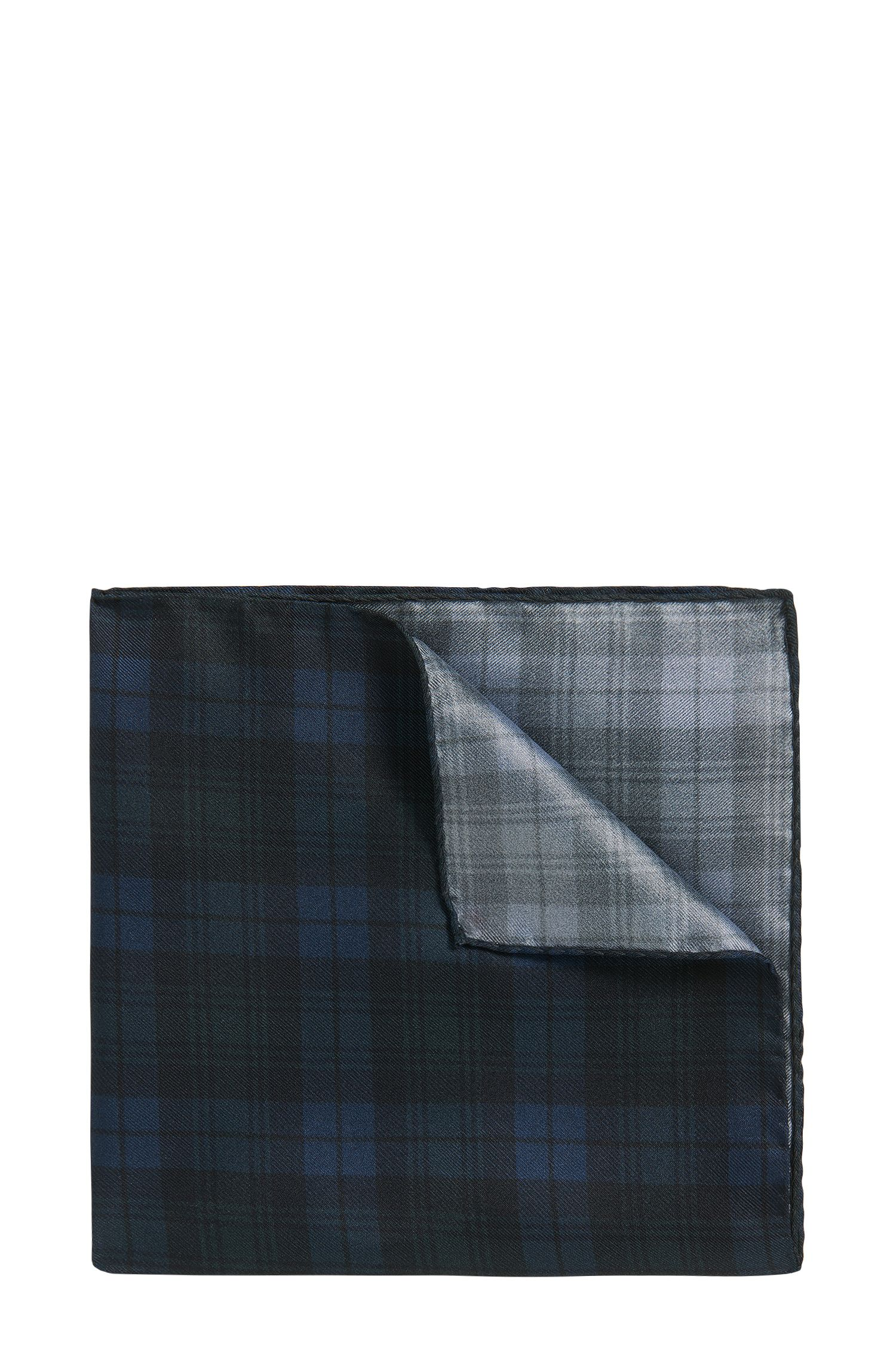 Blackwatch-check silk pocket square