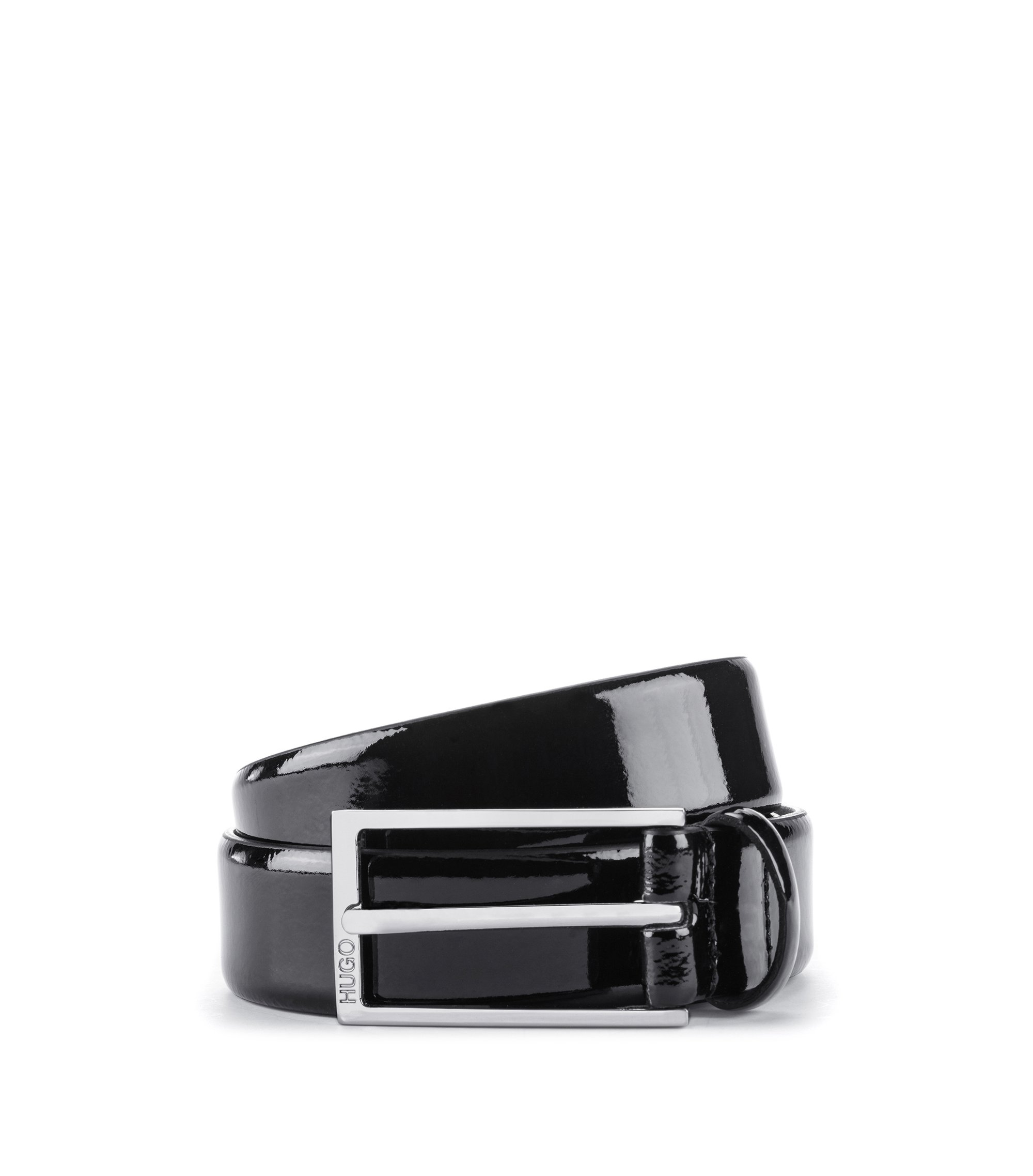 Patent-leather belt with pin buckle, Black