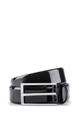 Cintura in pelle verniciata con fibbia ad ardiglione, Nero
