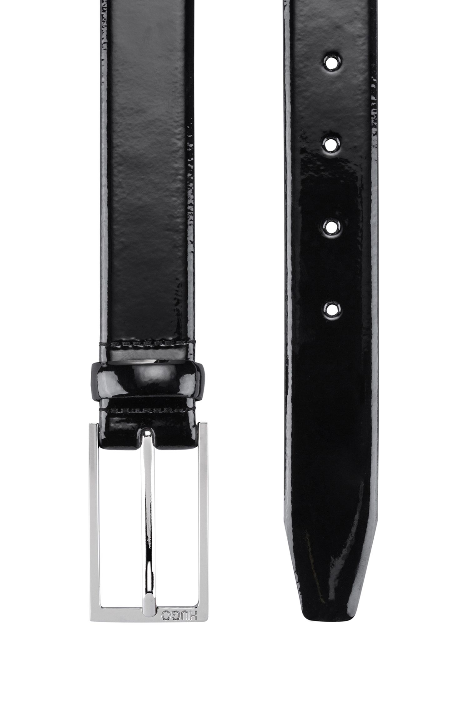 Patent-leather belt with pin buckle