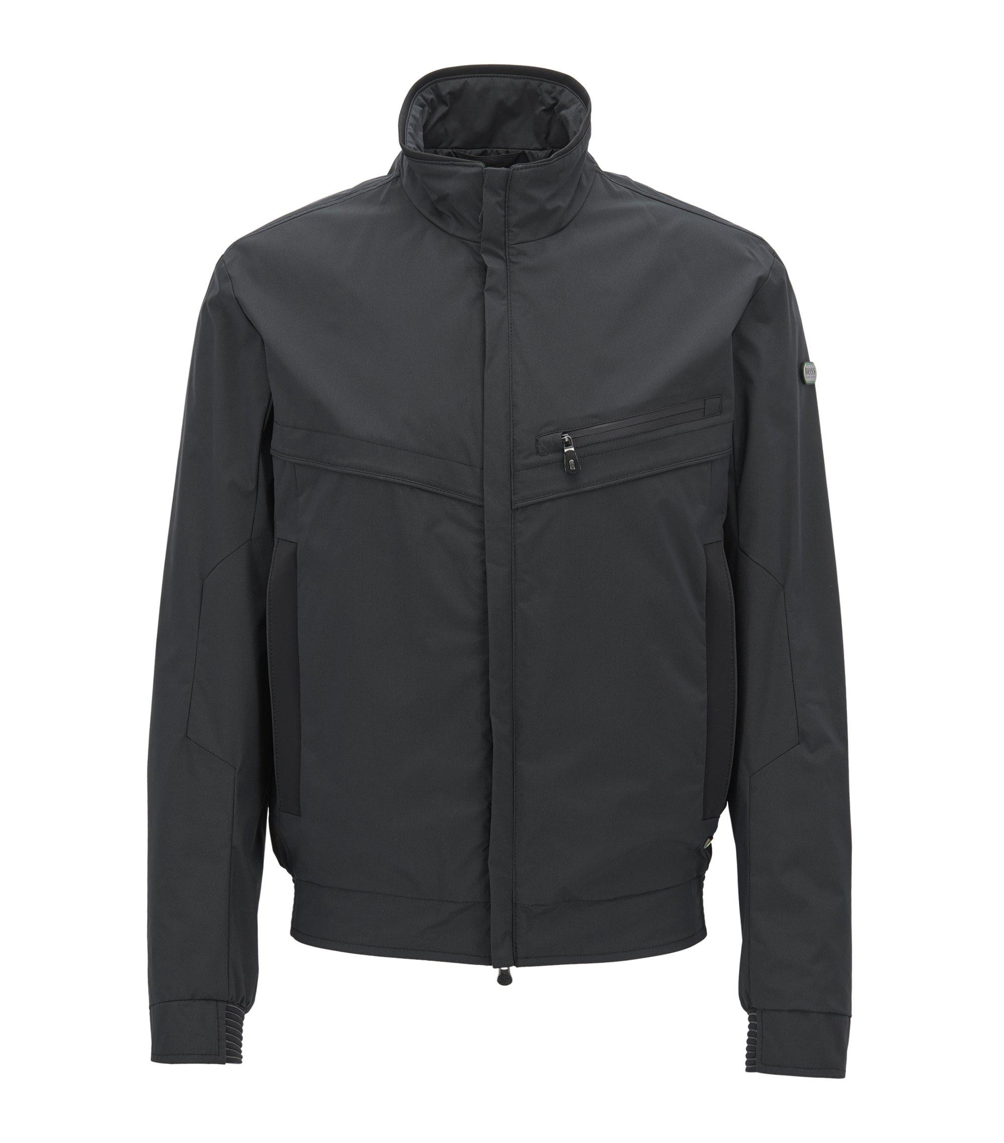 Veste zippée en tissu technique imperméable, Noir