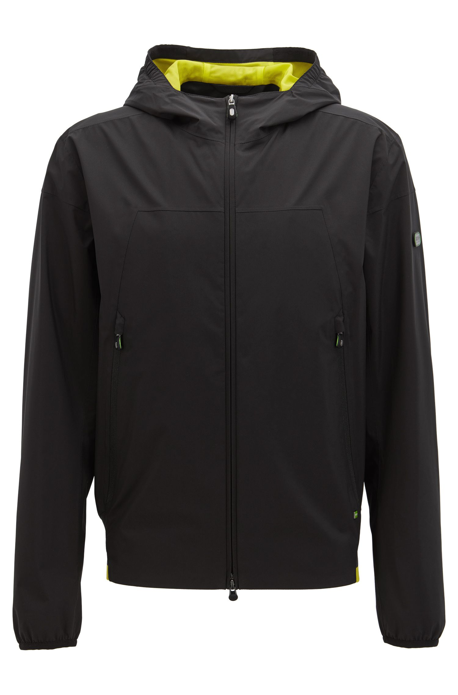 Waterproof jacket in soft-touch technical fabric