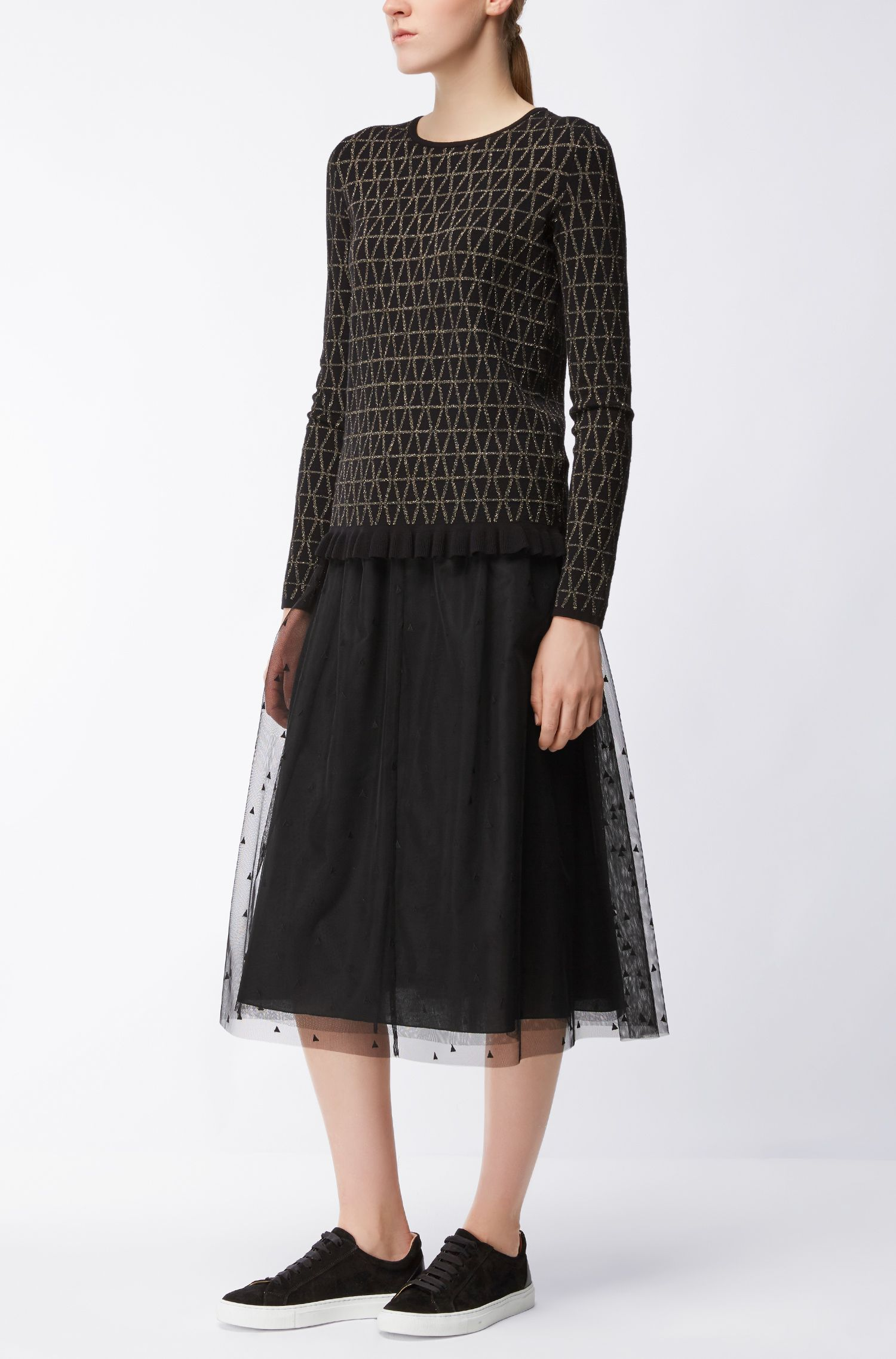 Midi-length A-line skirt in layered tulle
