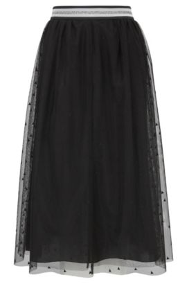 Midi-length A-line skirt in layered tulle, Black