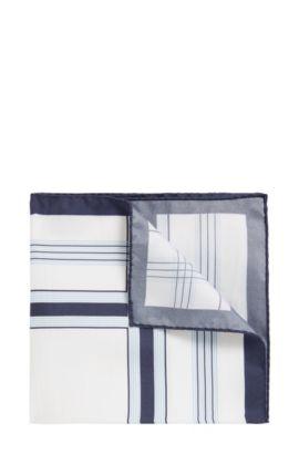 Checked pocket square in pure silk, White