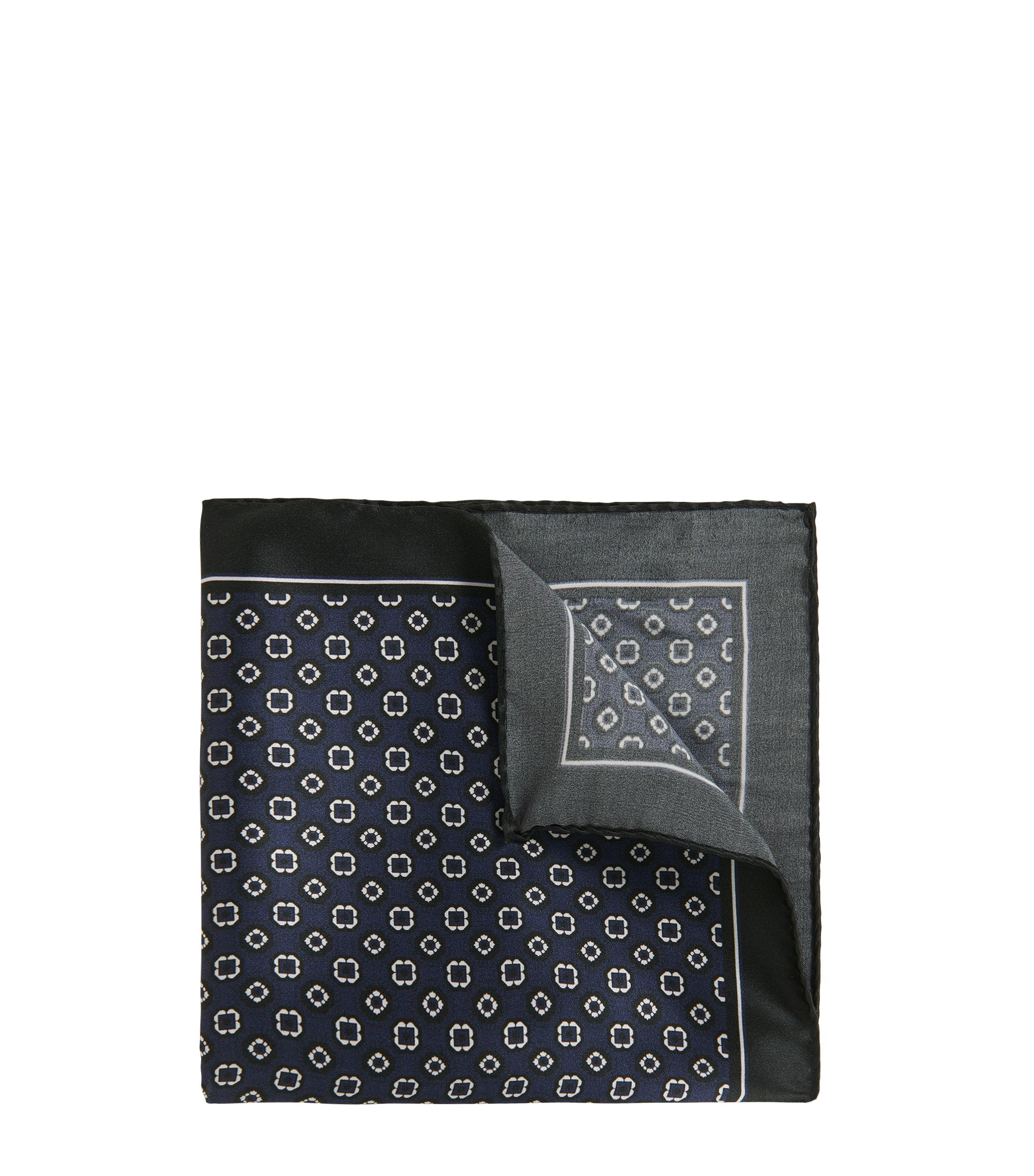 Printed silk pocket square with border and rolled hem, Dark Blue