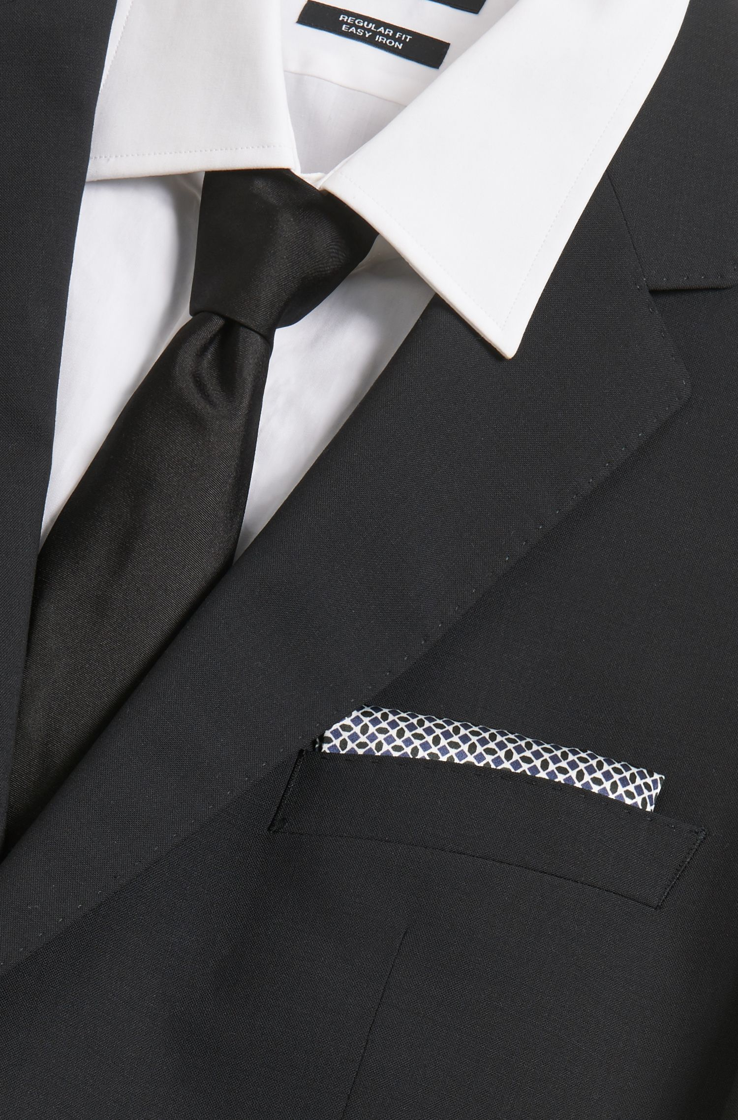 Printed silk pocket square with border and rolled hem
