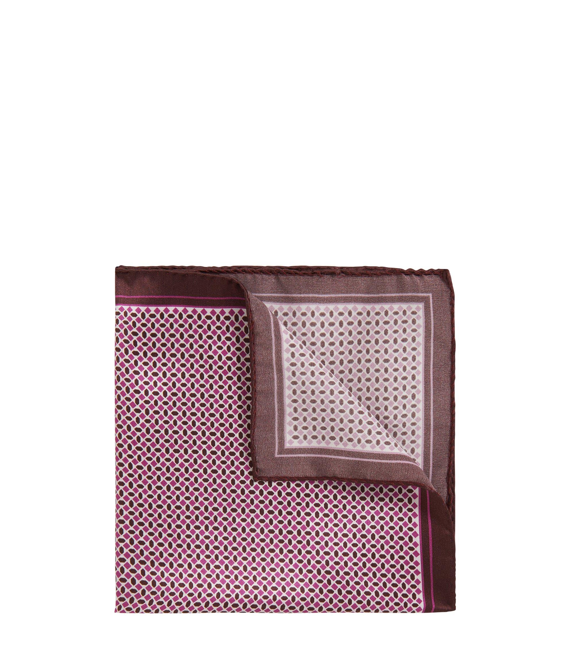 Pochette da taschino in seta stampata con bordo e orlo arrotolato, Rosa scuro