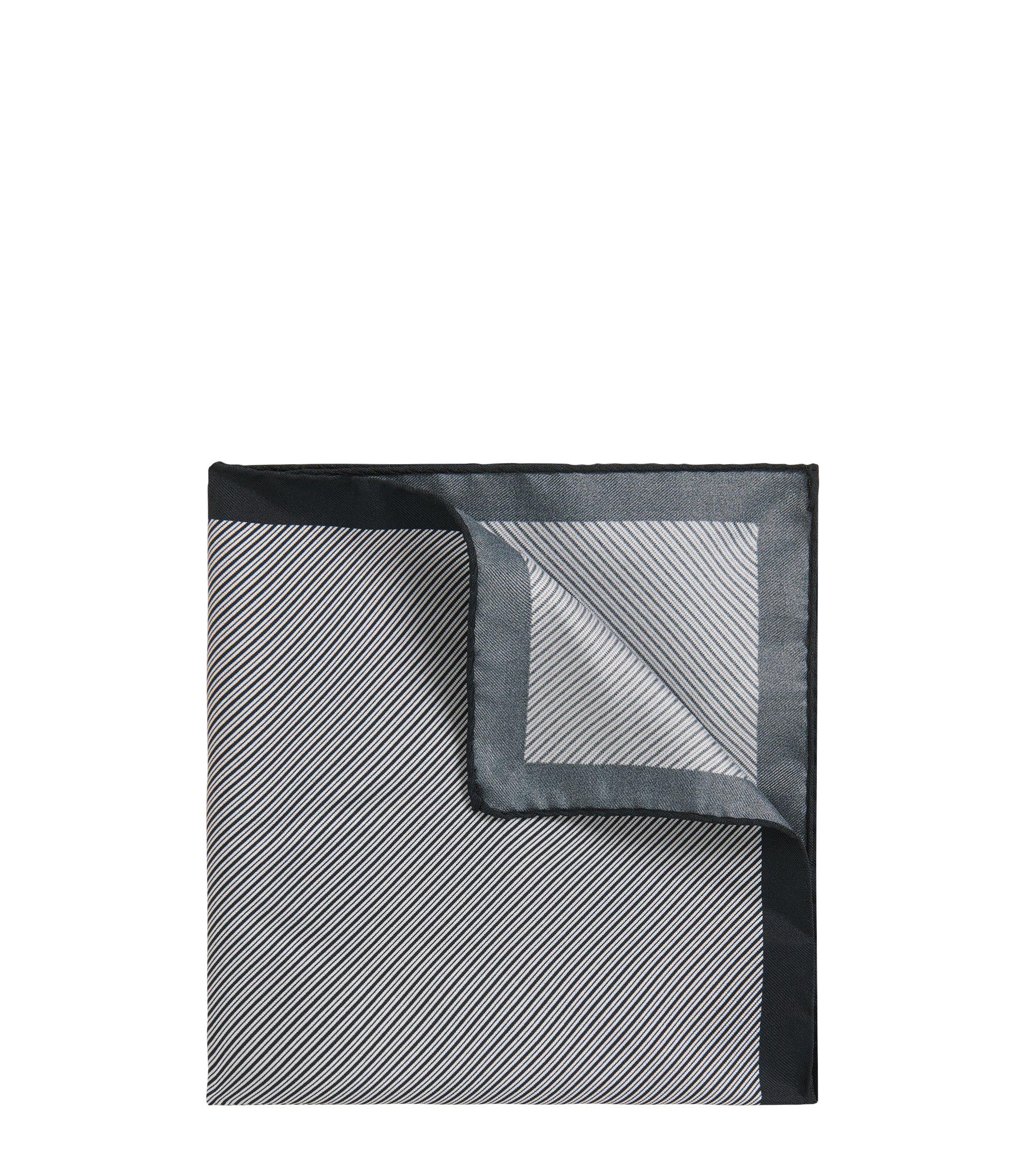 Diagonally striped pocket square in silk, White