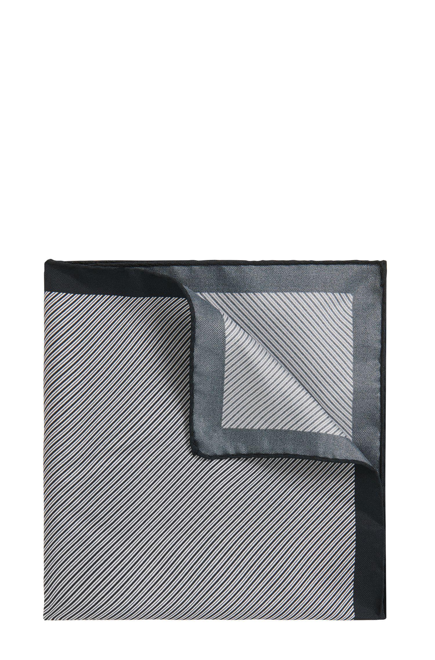 Diagonally striped pocket square in silk