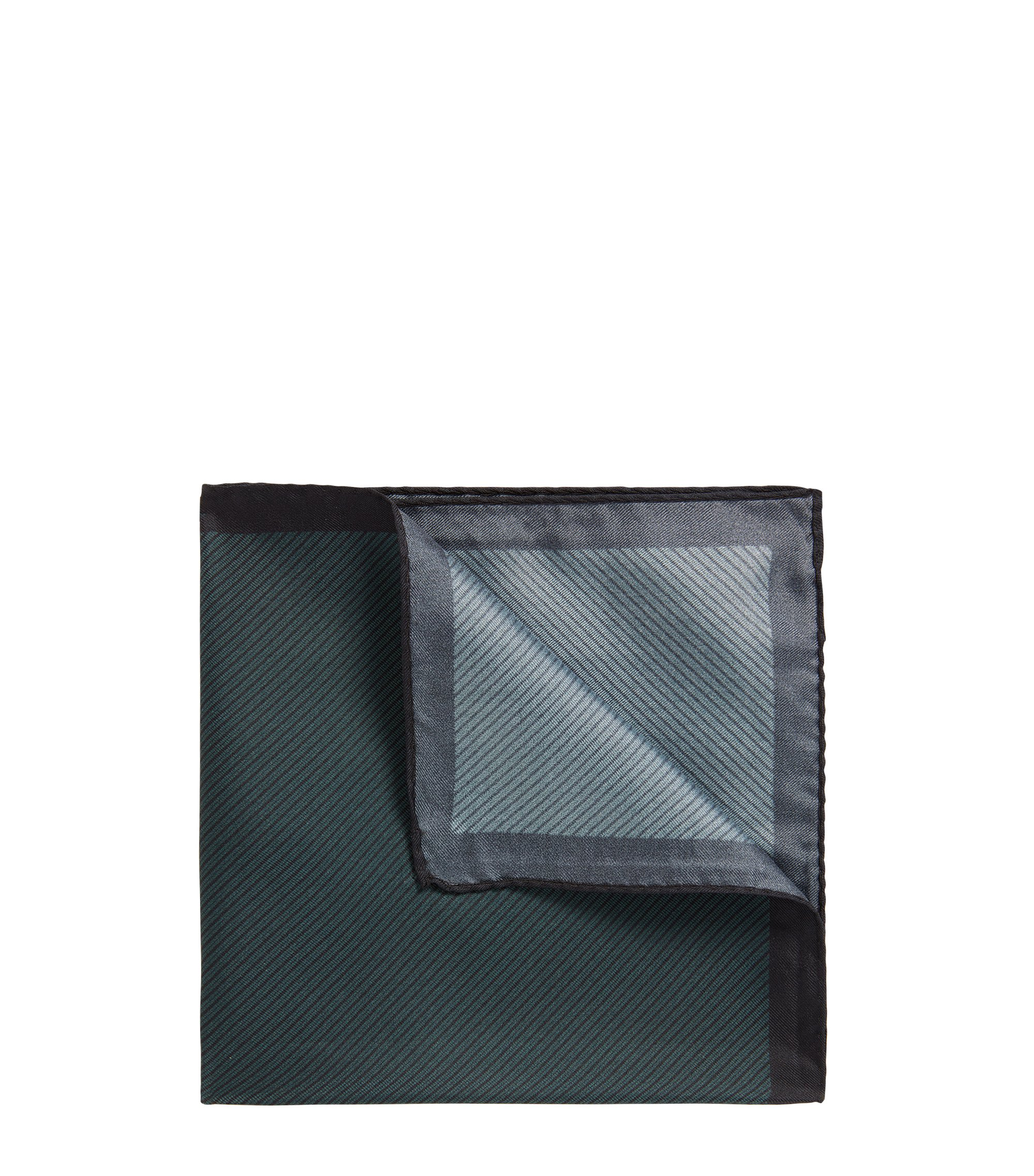 Diagonally striped pocket square in silk, Dark Green