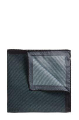 Pochette da taschino in seta con motivo a righe diagonali, Verde scuro