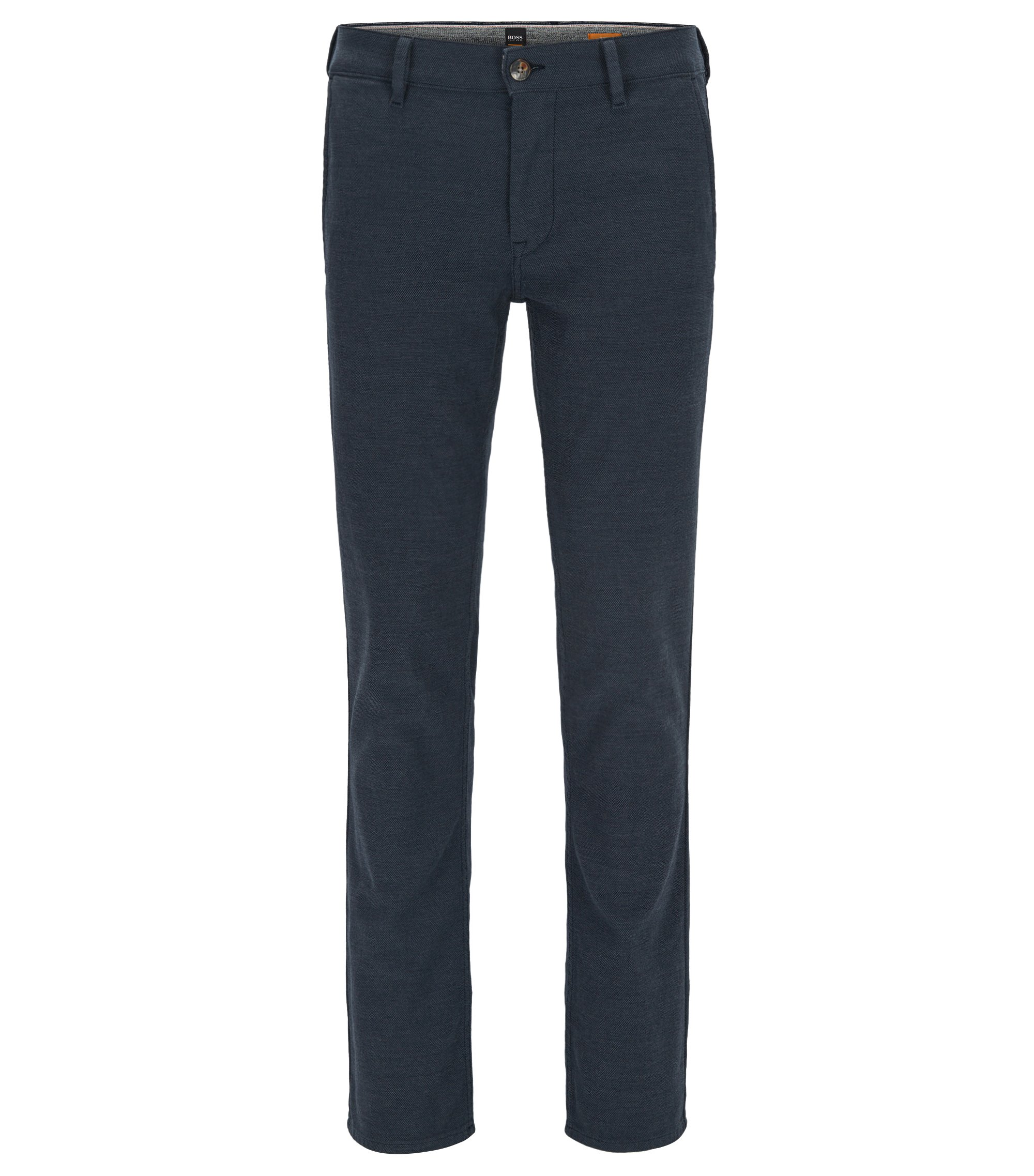 Slim-fit micro-pattern trousers in a stretch cotton blend, Dark Blue