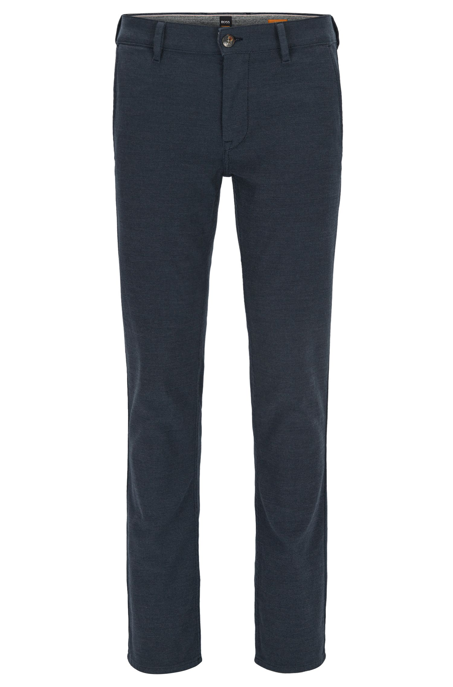 Slim-fit micro-pattern trousers in a stretch cotton blend