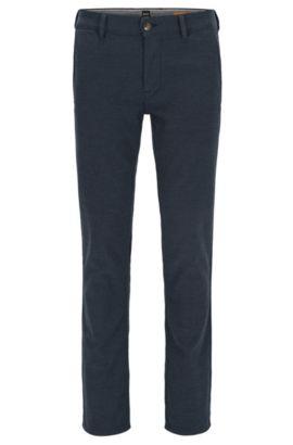 Slim-fit broek met microdessin, van een katoenmix met stretch, Donkerblauw