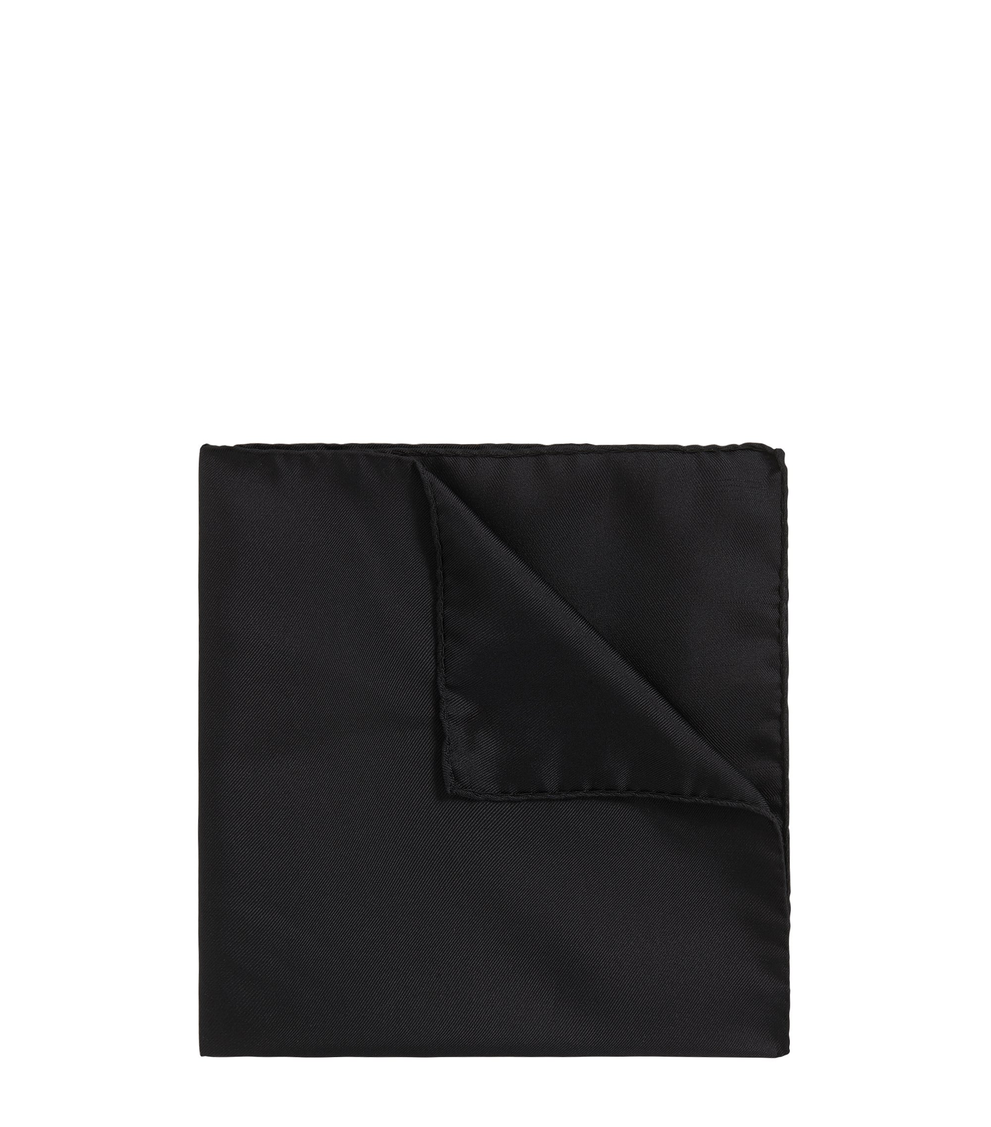 Silk pocket square with rolled hem, Black