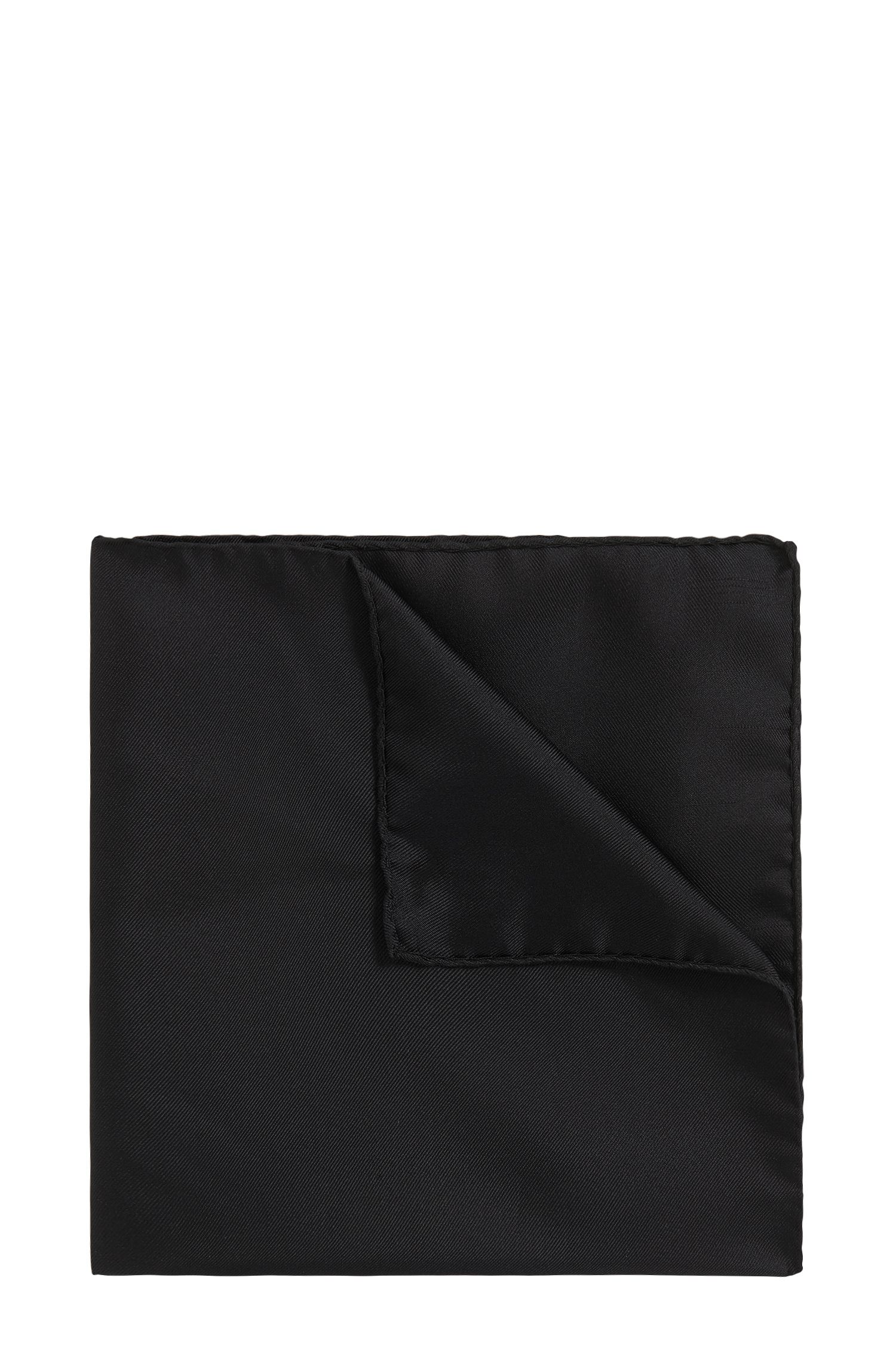 Silk pocket square with rolled hem