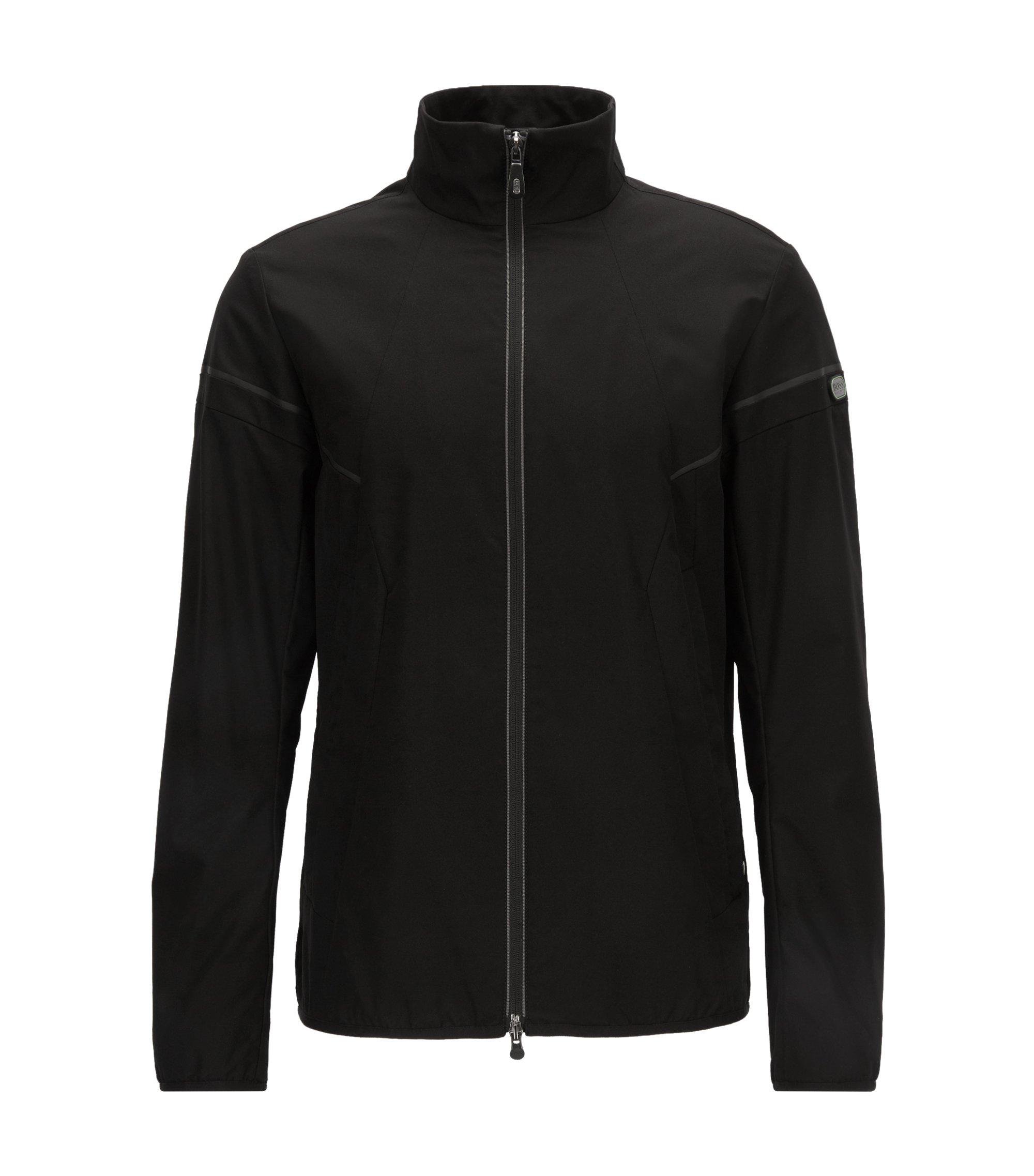 Jacke aus wasserabweisendem Material-Mix, Schwarz