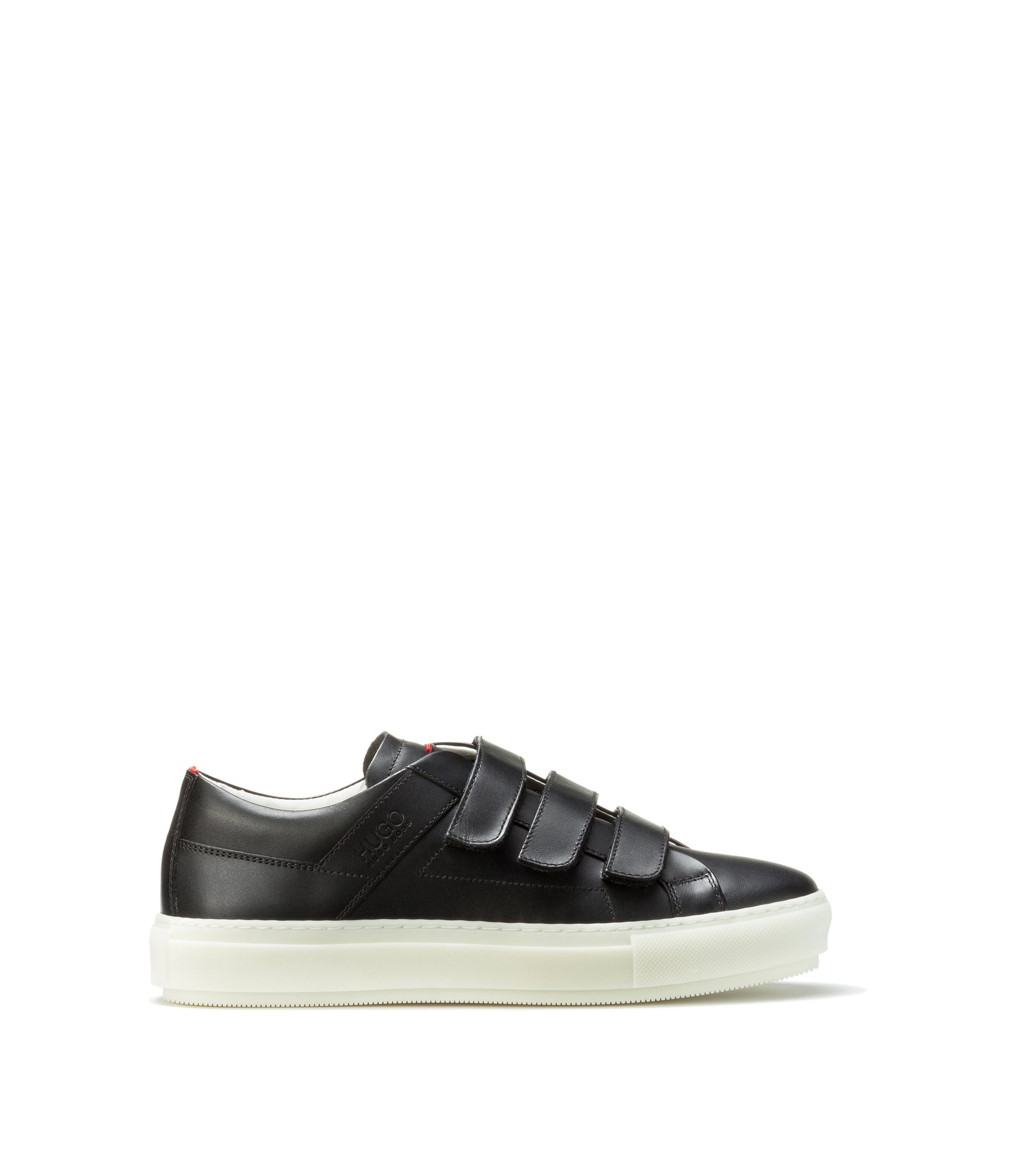 Leather trainers with triple touch-fastening straps, Black