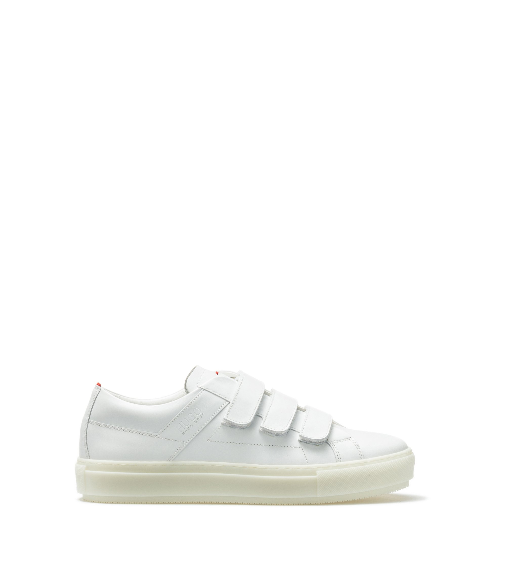 Leather trainers with triple touch-fastening straps, White