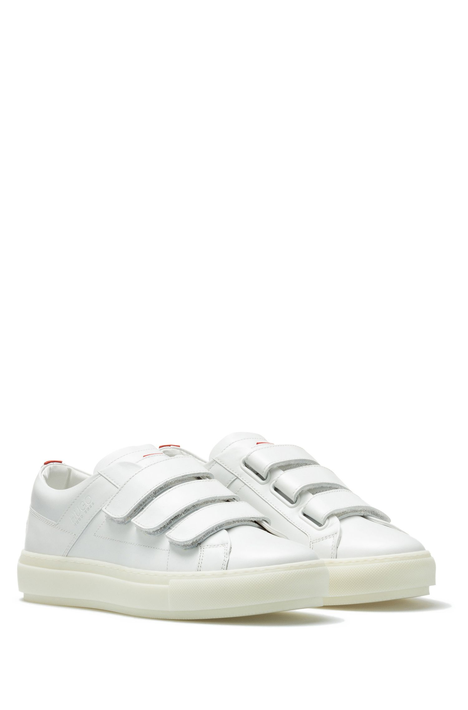 Leather trainers with triple touch-fastening straps
