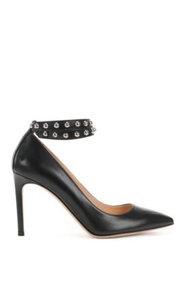 Leather pumps with studded ankle strap, Black