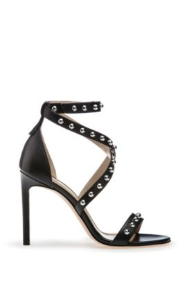 Strappy leather sandals with stud embellishments, Black