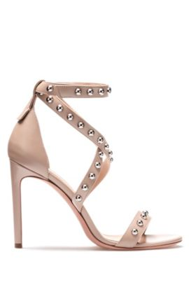 Strappy leather sandals with stud embellishments, Light Beige