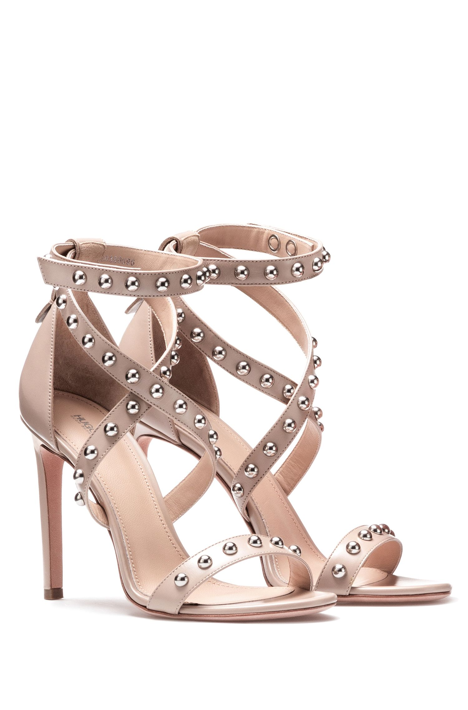 Strappy leather sandals with stud embellishments