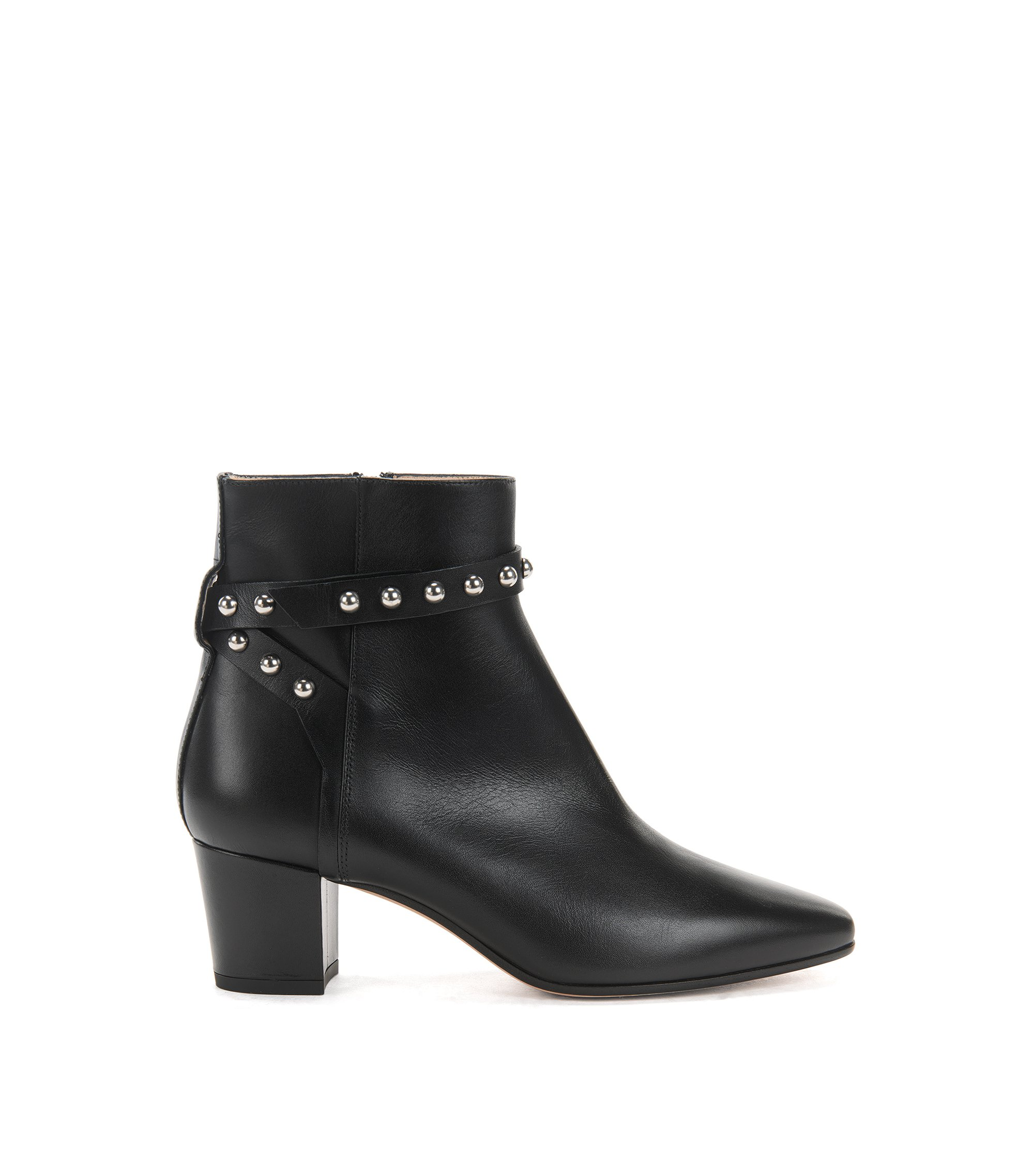 Leather ankle boots with studded strap, Black