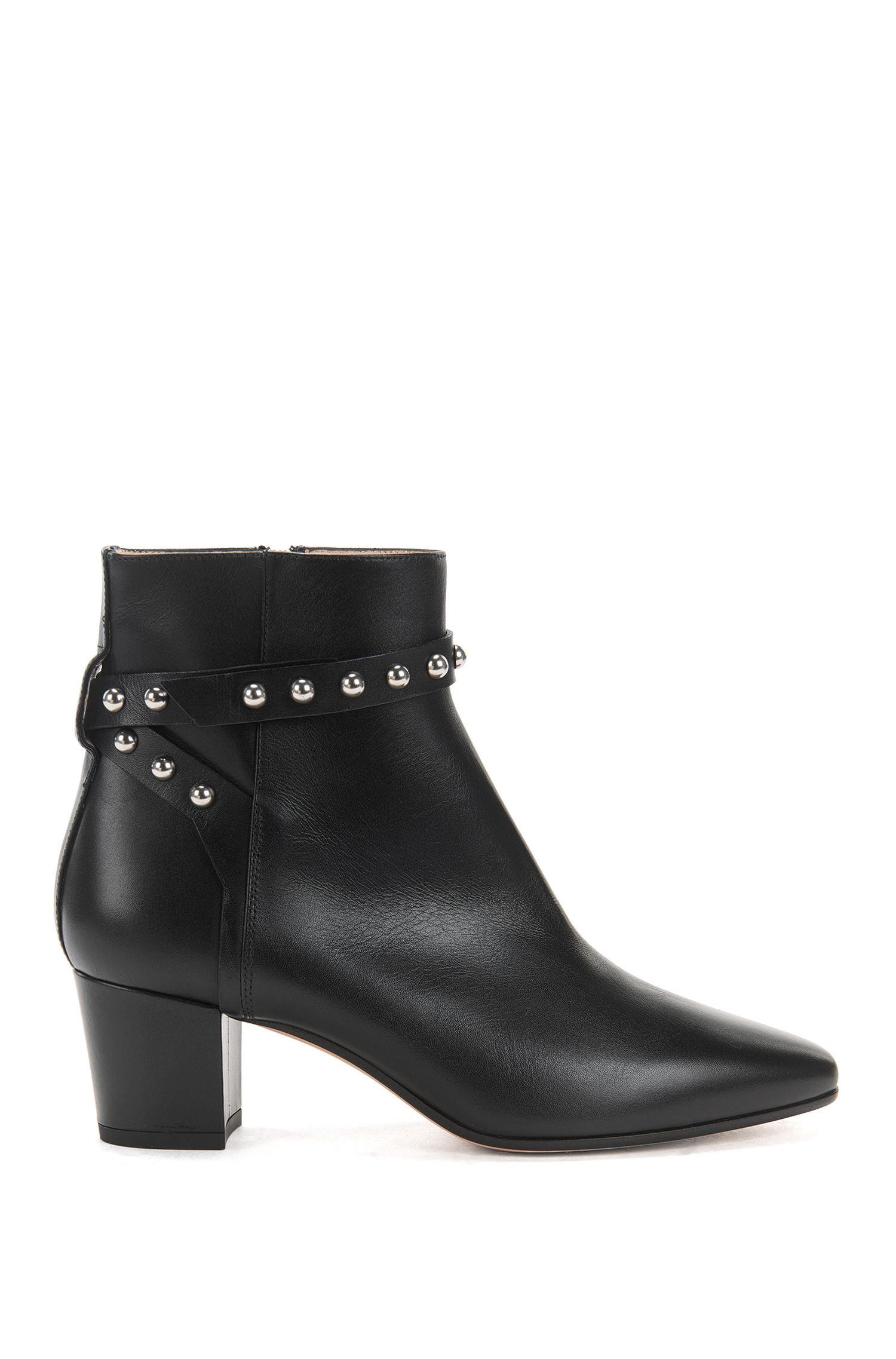 Leather ankle boots with studded strap