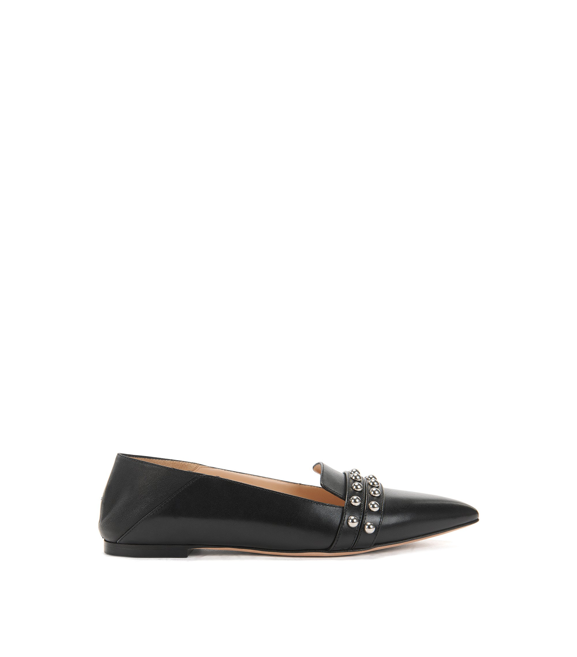 Leather ballerina pumps with stud embellishments, Black