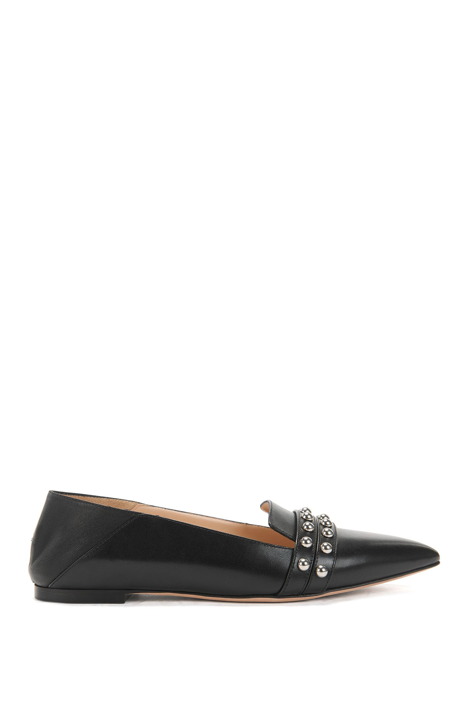 Leather ballerina pumps with stud embellishments