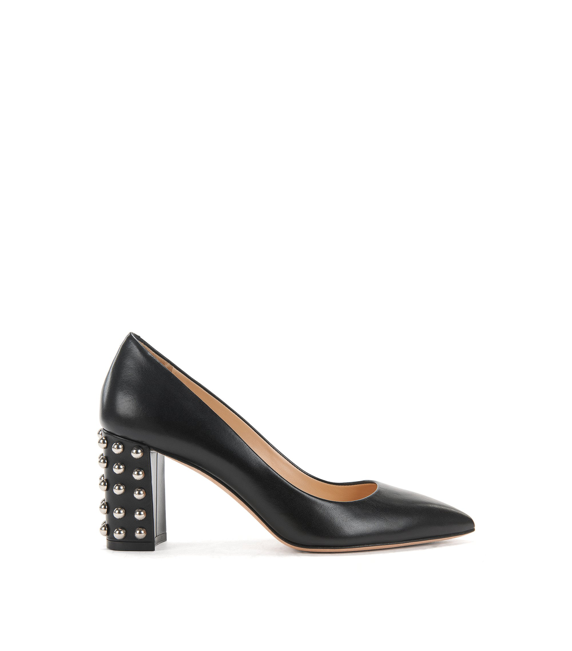 Italian calf-leather pumps with stud detailing, Black