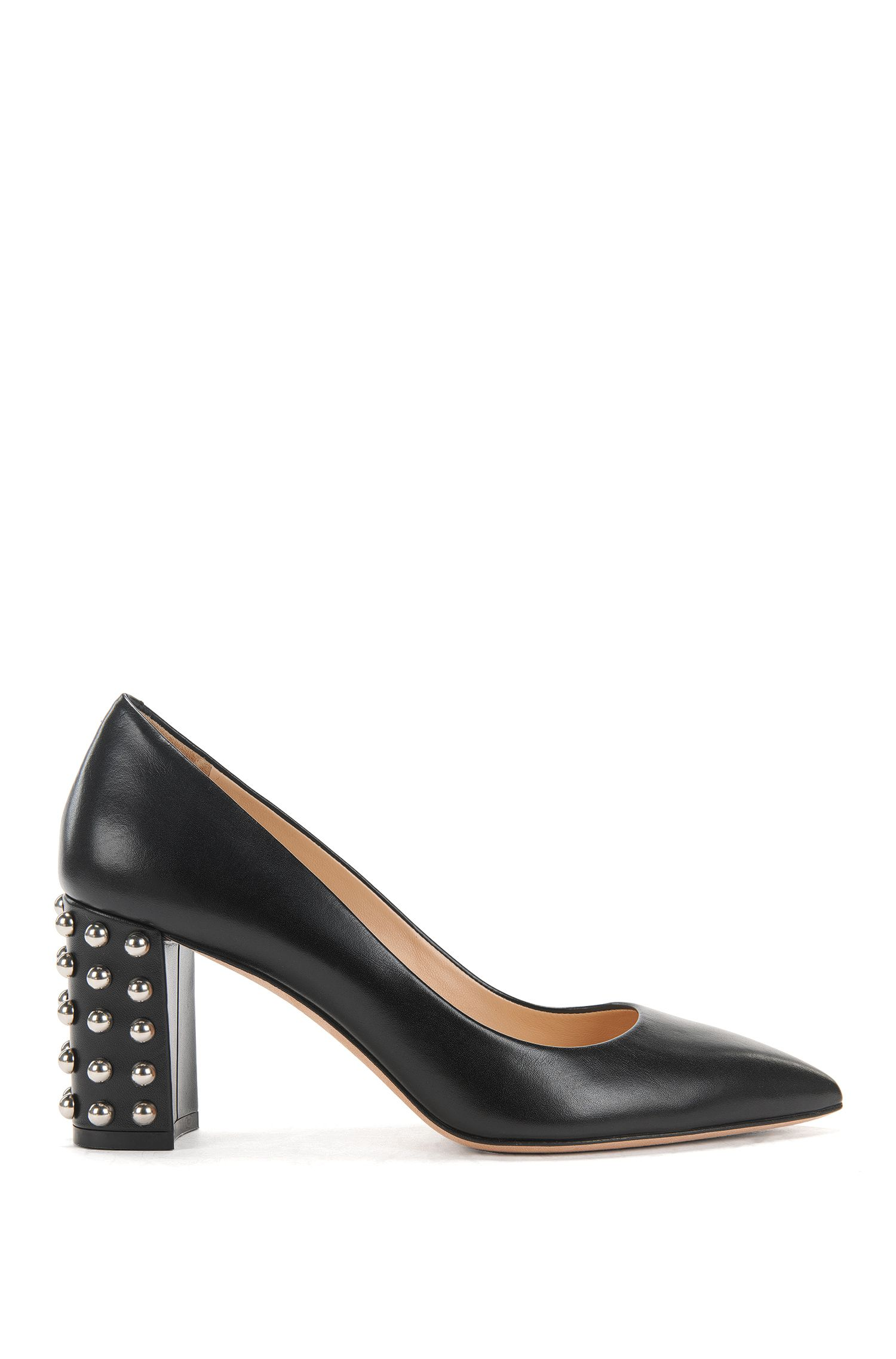 Italian calf-leather pumps with stud detailing